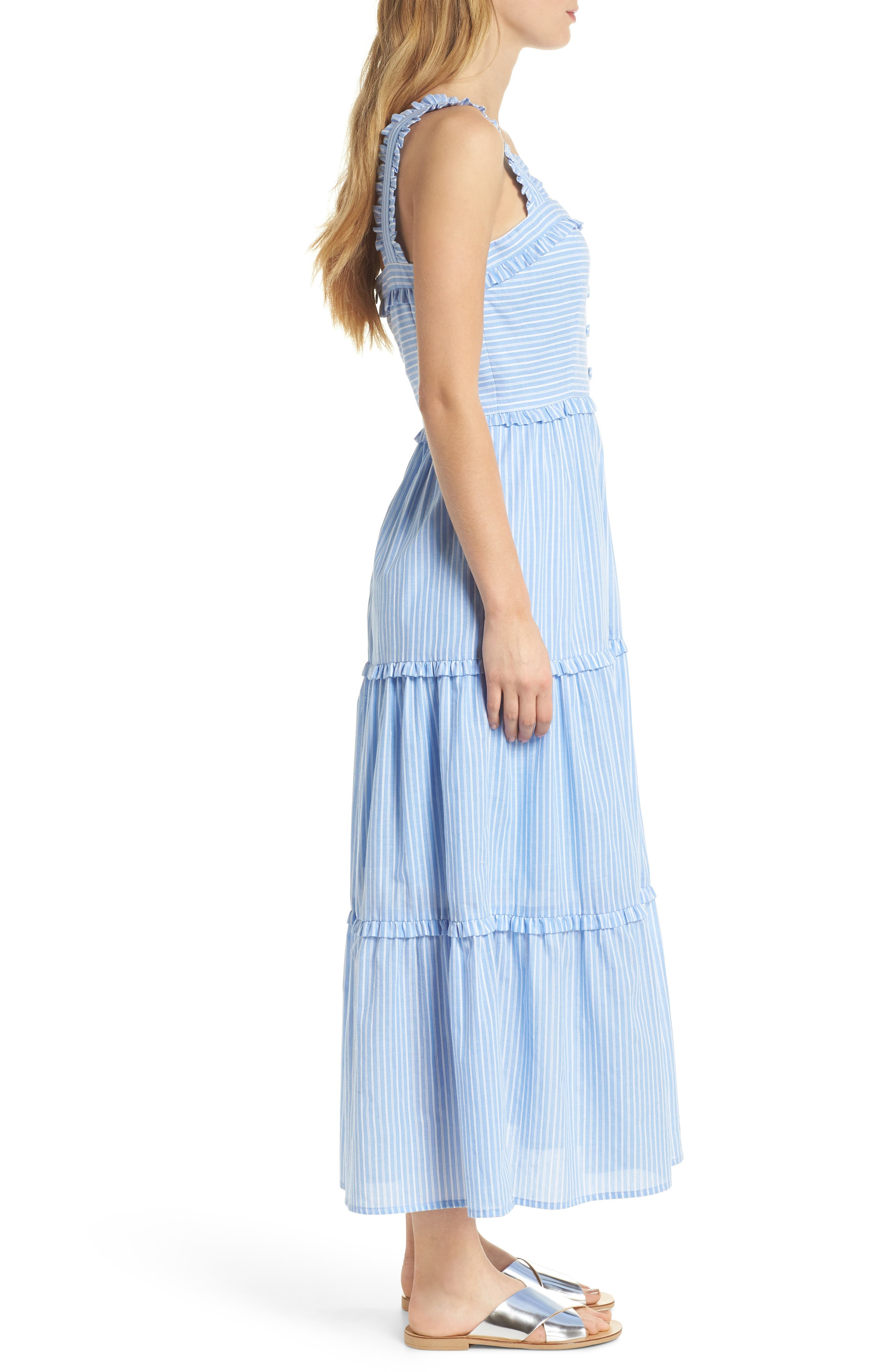 Courtney Rio Stripe Lawn Maxi Dress,                             Alternate thumbnail 4, color,                             Blue/ White