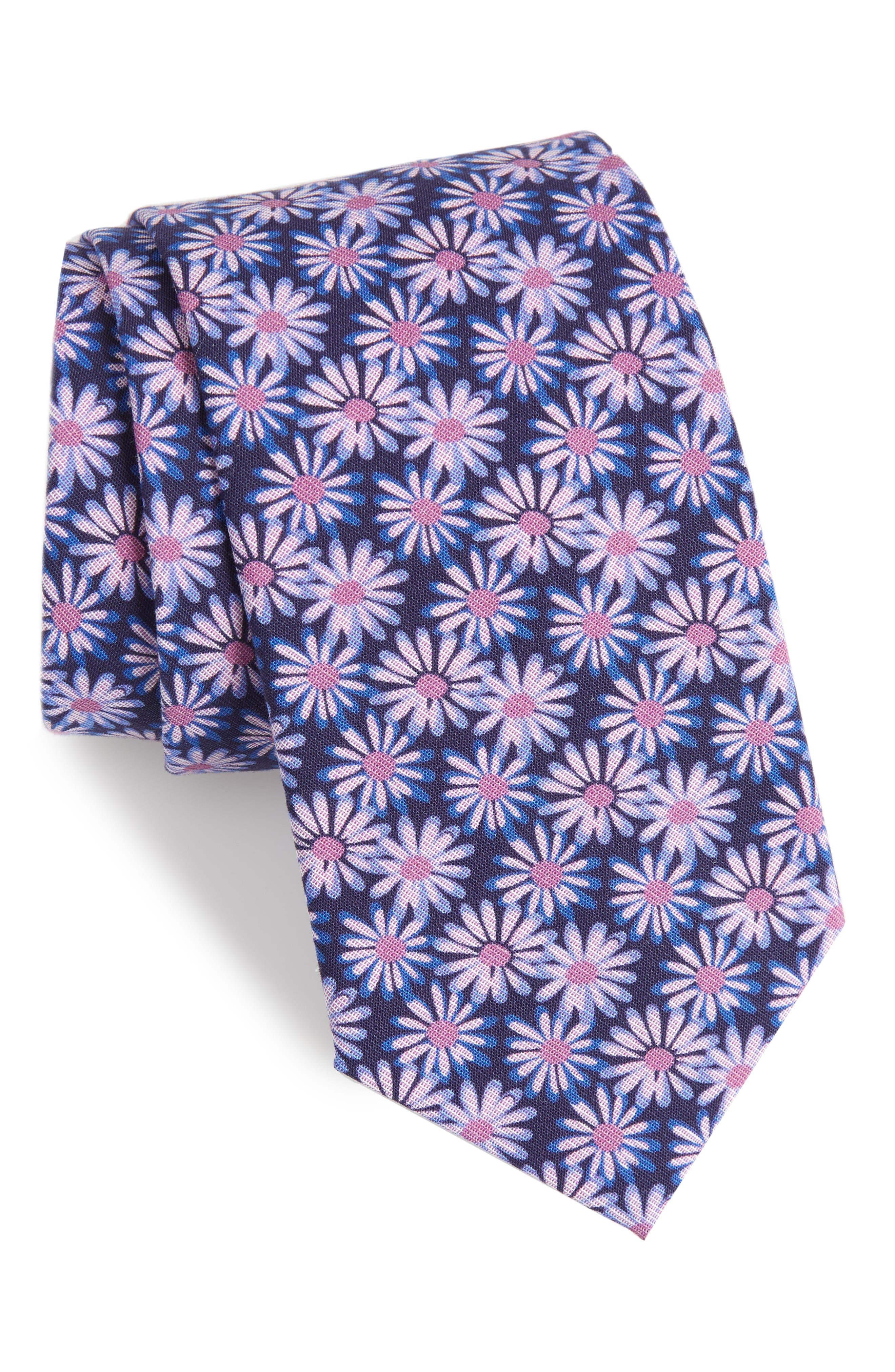 Floral Breeze Print Cotton Tie,                         Main,                         color, Grape Shade