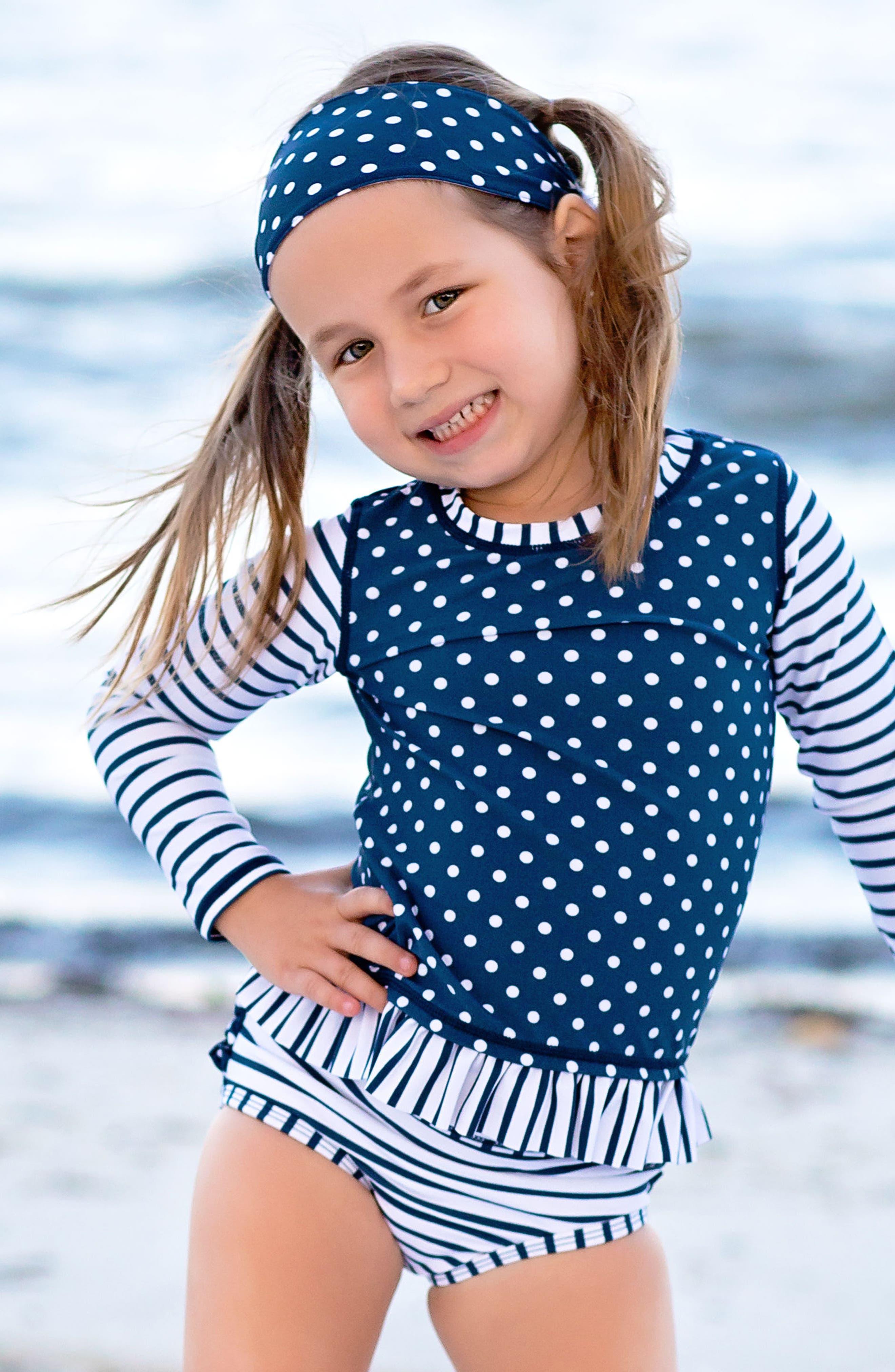 Alternate Image 3  - RuffleButts Two-Piece Rashguard Swimsuit & Headband Set (Toddler Girls)