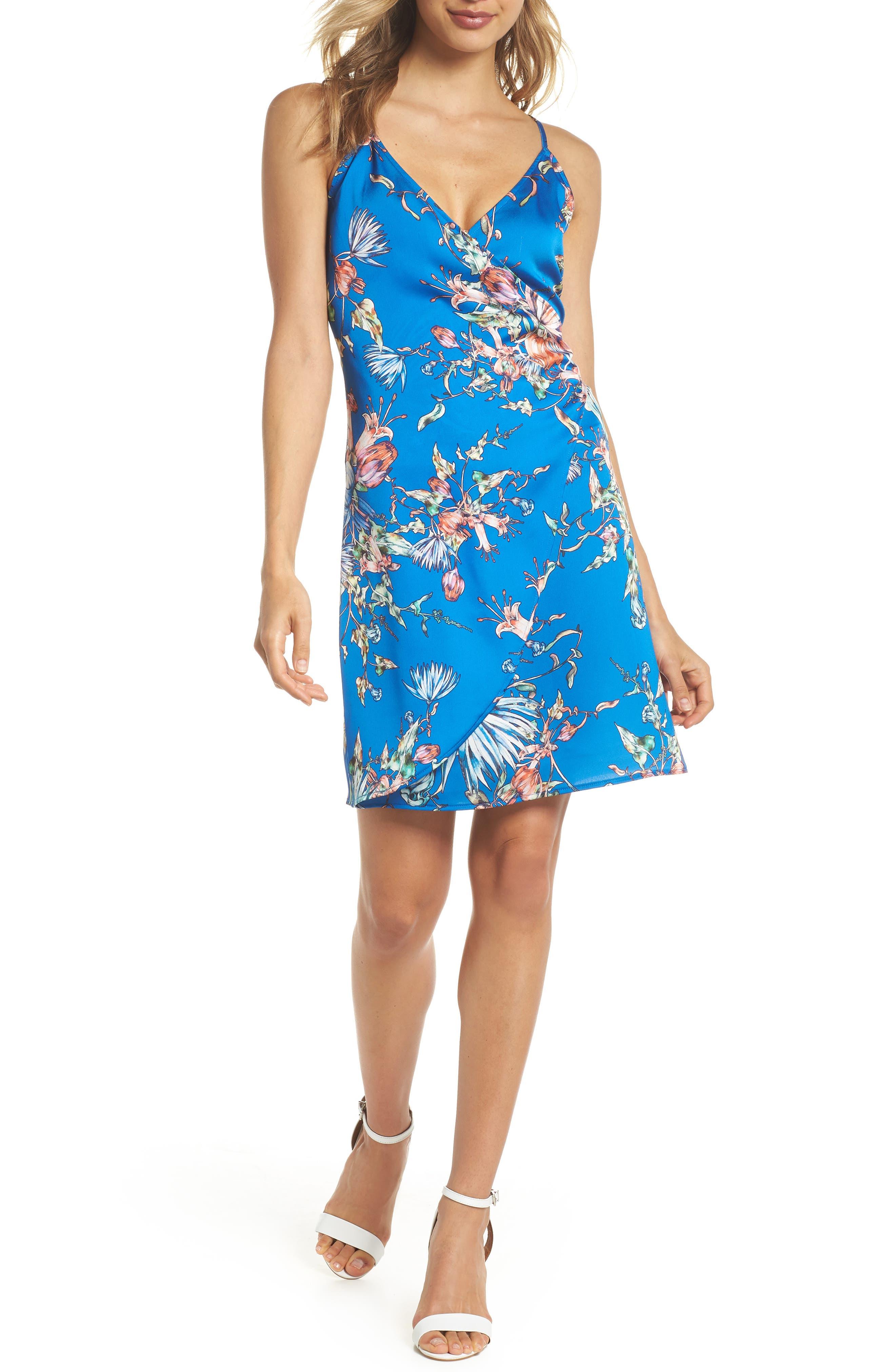 Floral Print Satin Faux Wrap Dress,                             Main thumbnail 1, color,                             Royal
