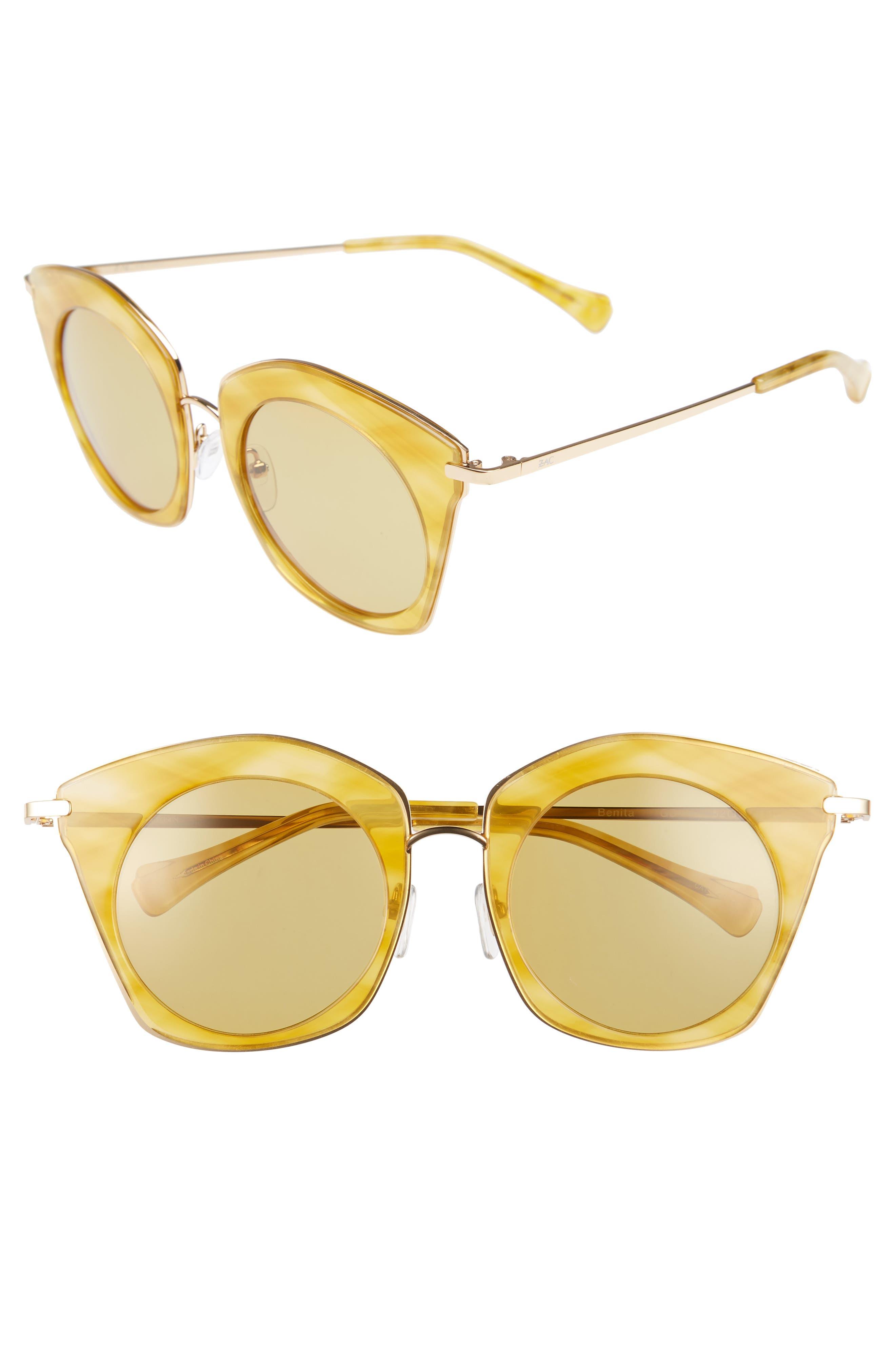 Benita 52mm Polarized Sunglasses,                         Main,                         color, Gold Polar