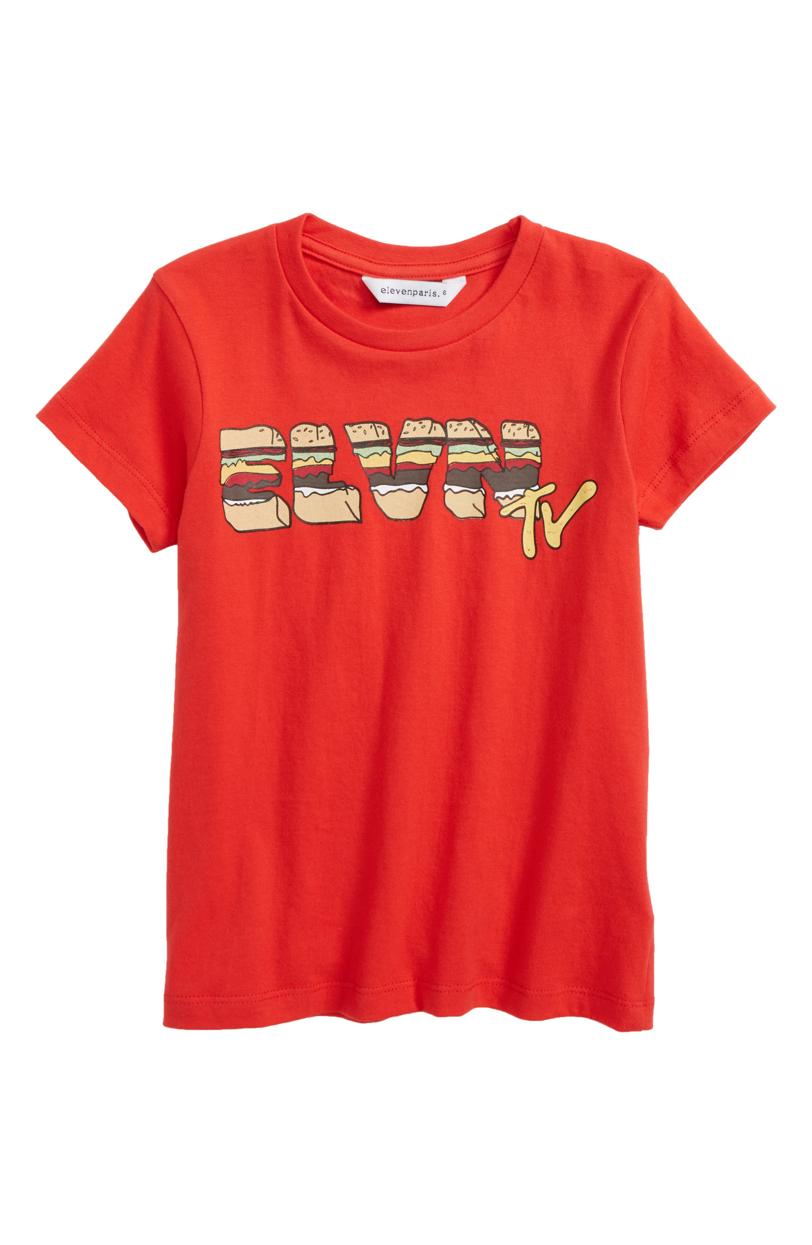 Little ELEVENPARIS HTV T-Shirt,                             Main thumbnail 1, color,                             Red