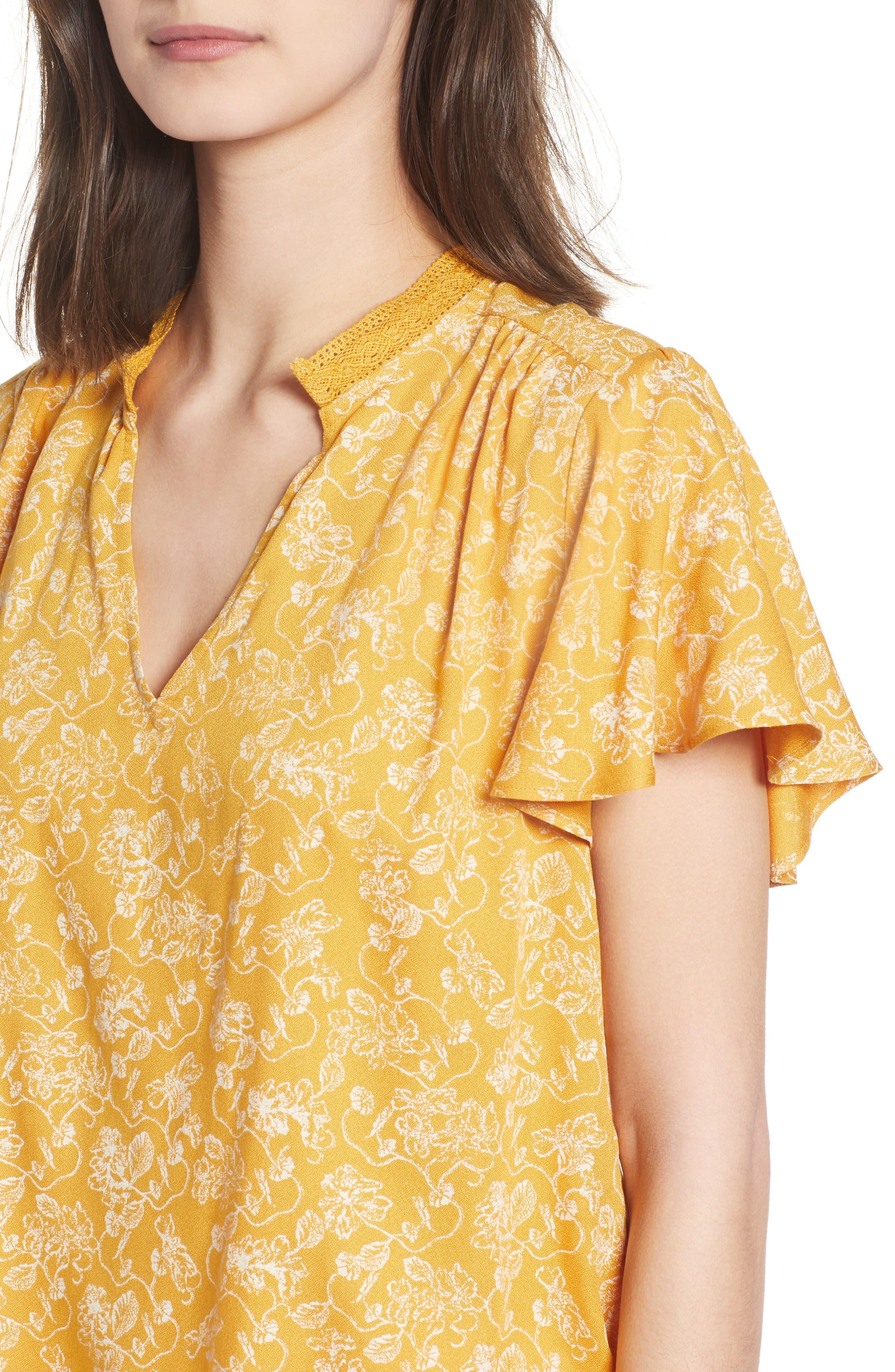 Split Neck Top,                             Alternate thumbnail 4, color,                             Yellow Gleam Floral Stencil