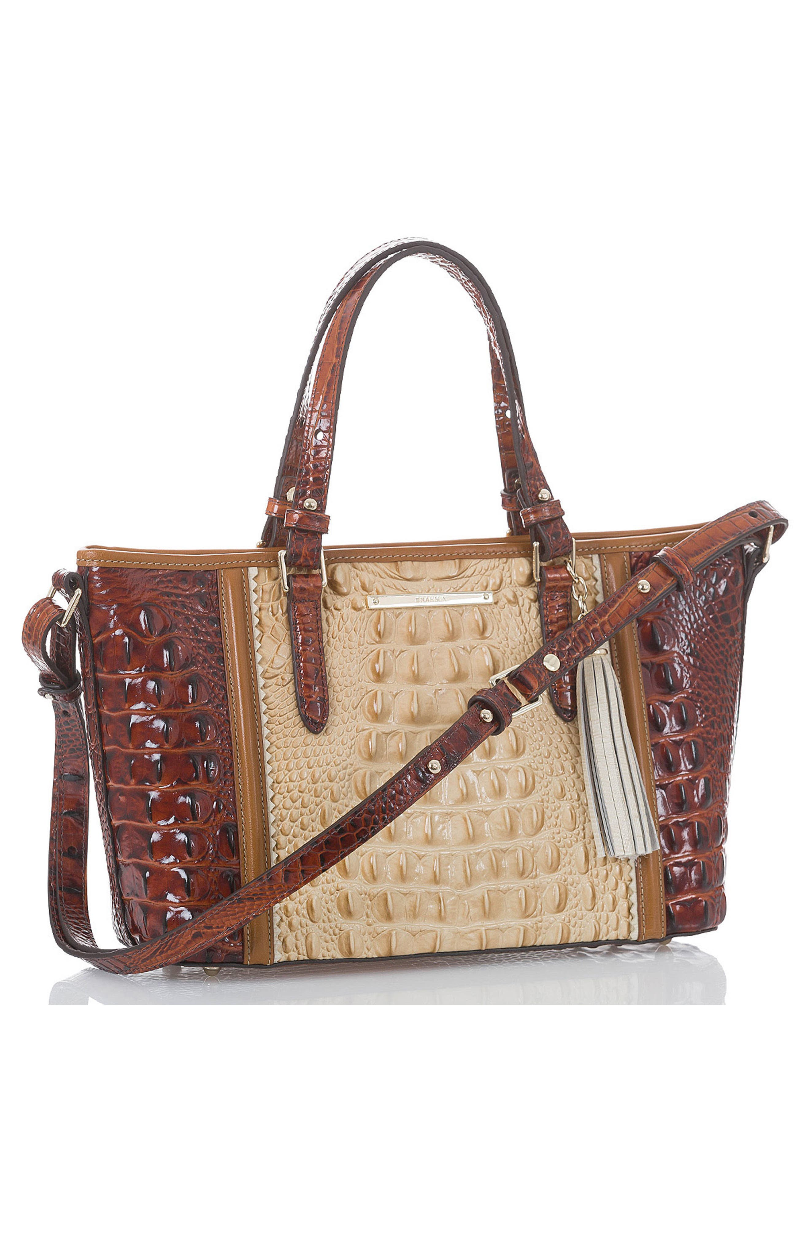 Mini Asher Croc Embossed Leather Tote,                             Alternate thumbnail 4, color,                             Chino