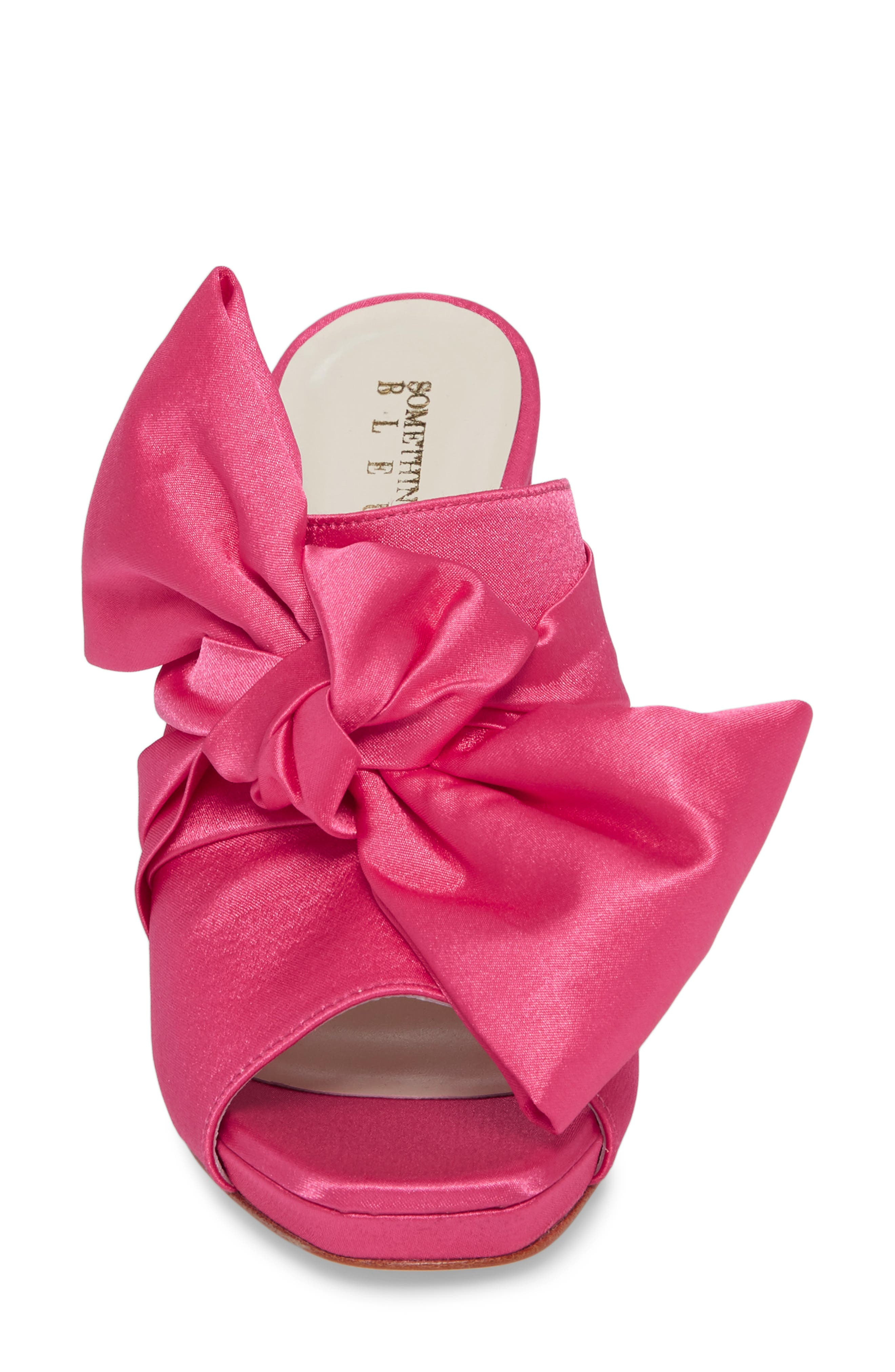 Elisa Knotted Bow Mule,                             Alternate thumbnail 4, color,                             Hot Pink Satin