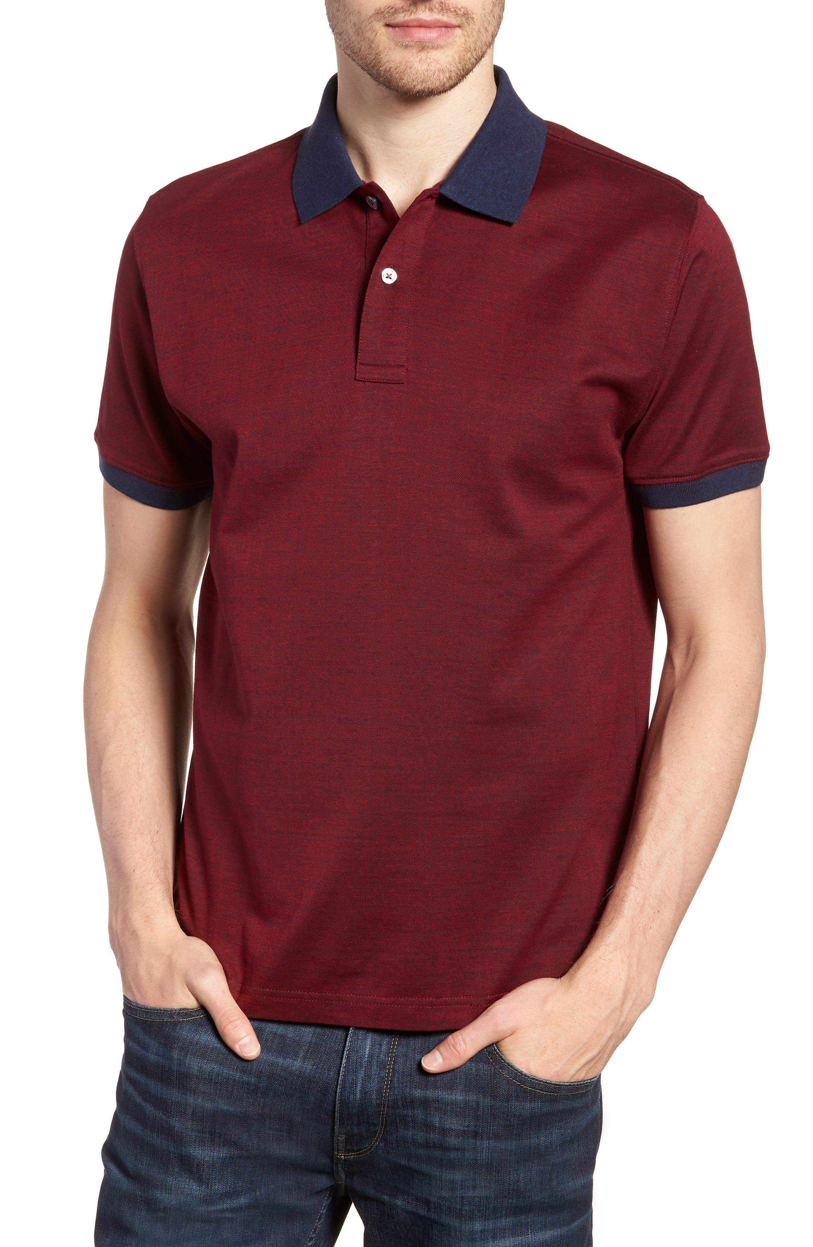 Lindenvale Sports Fit Polo,                         Main,                         color, Burgundy