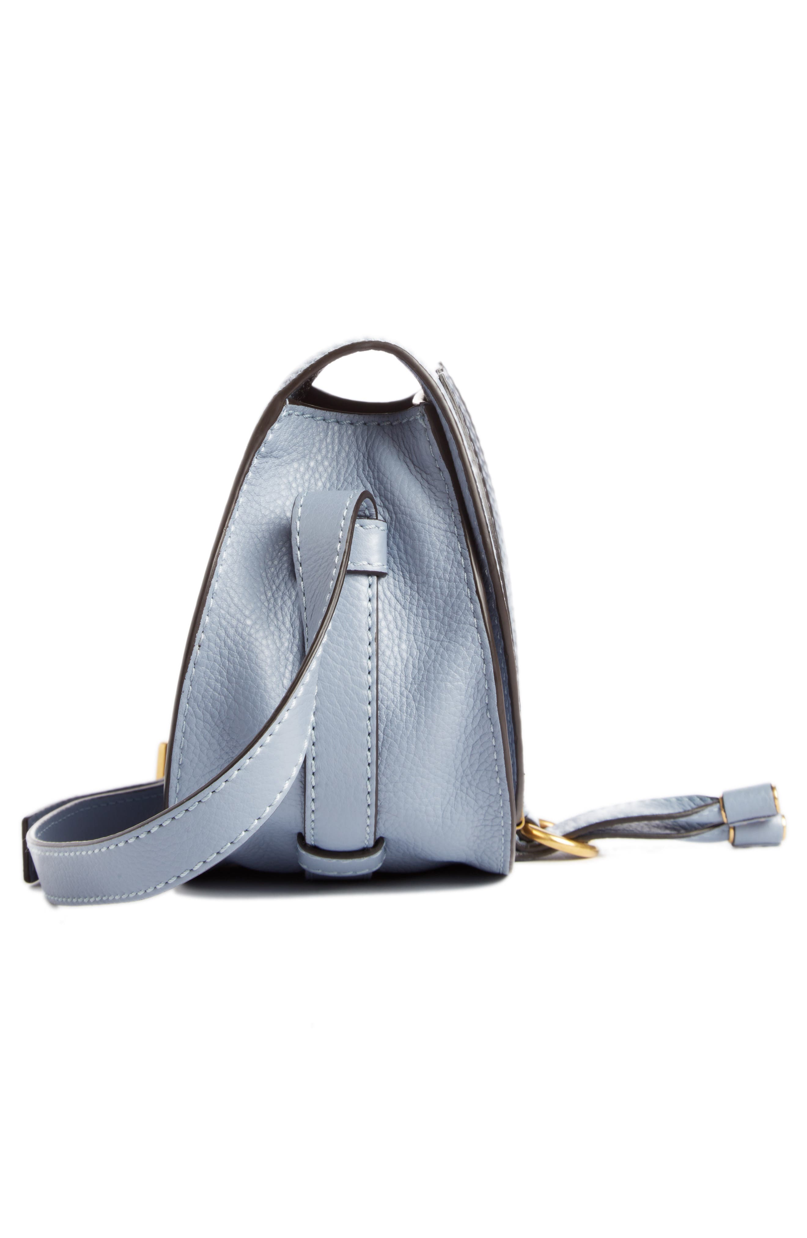 'Mini Marcie' Leather Crossbody Bag,                             Alternate thumbnail 4, color,                             Washed Blue
