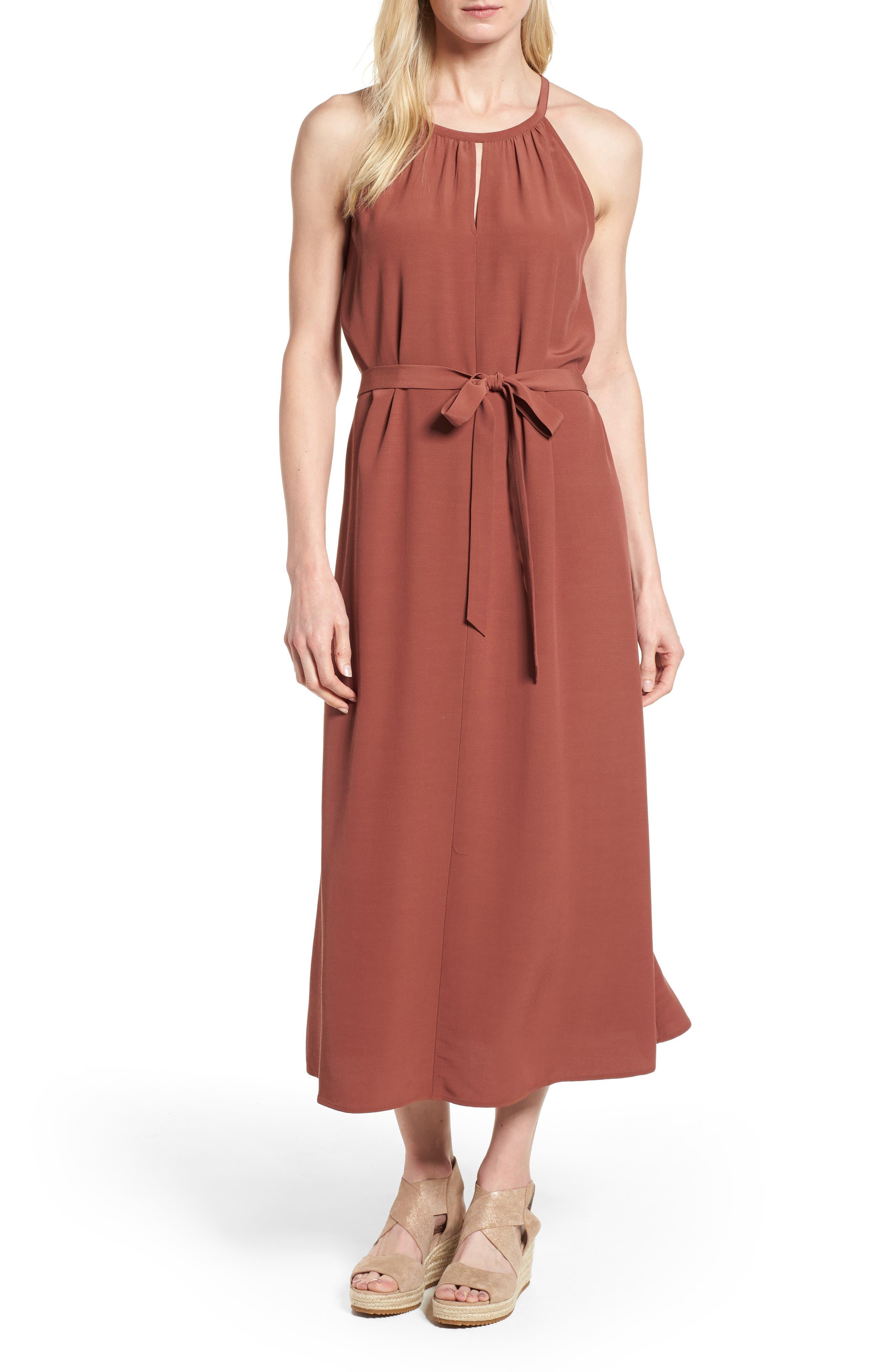 Eileen Fisher Tencel® Lyocell Blend Midi Dress (Regular & Petite)