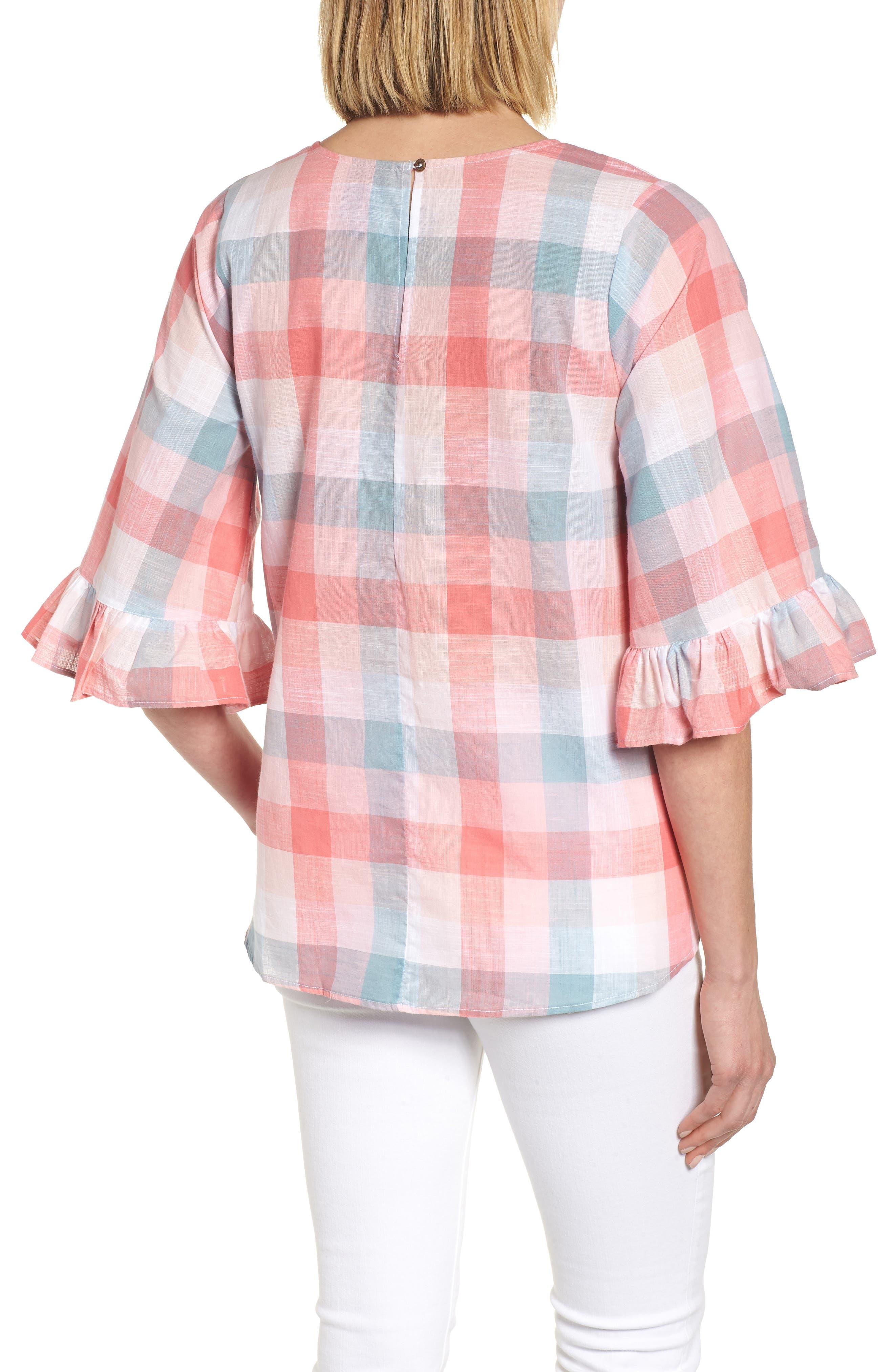 Pastel Plaid Ruffle Sleeve Cotton Top,                             Alternate thumbnail 2, color,                             Pink Plaid