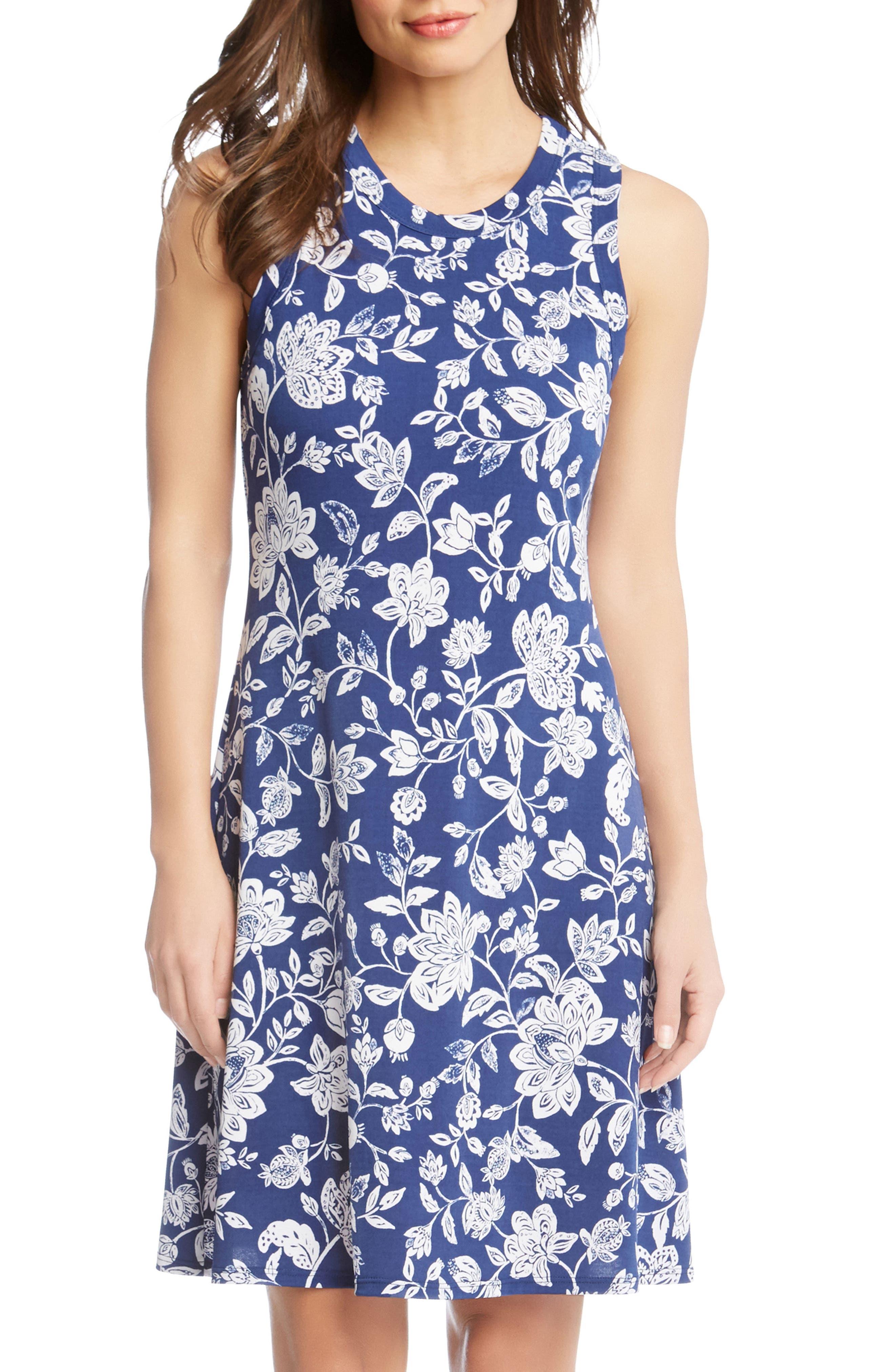 Floral Sleeveless Dress,                             Alternate thumbnail 3, color,                             Print