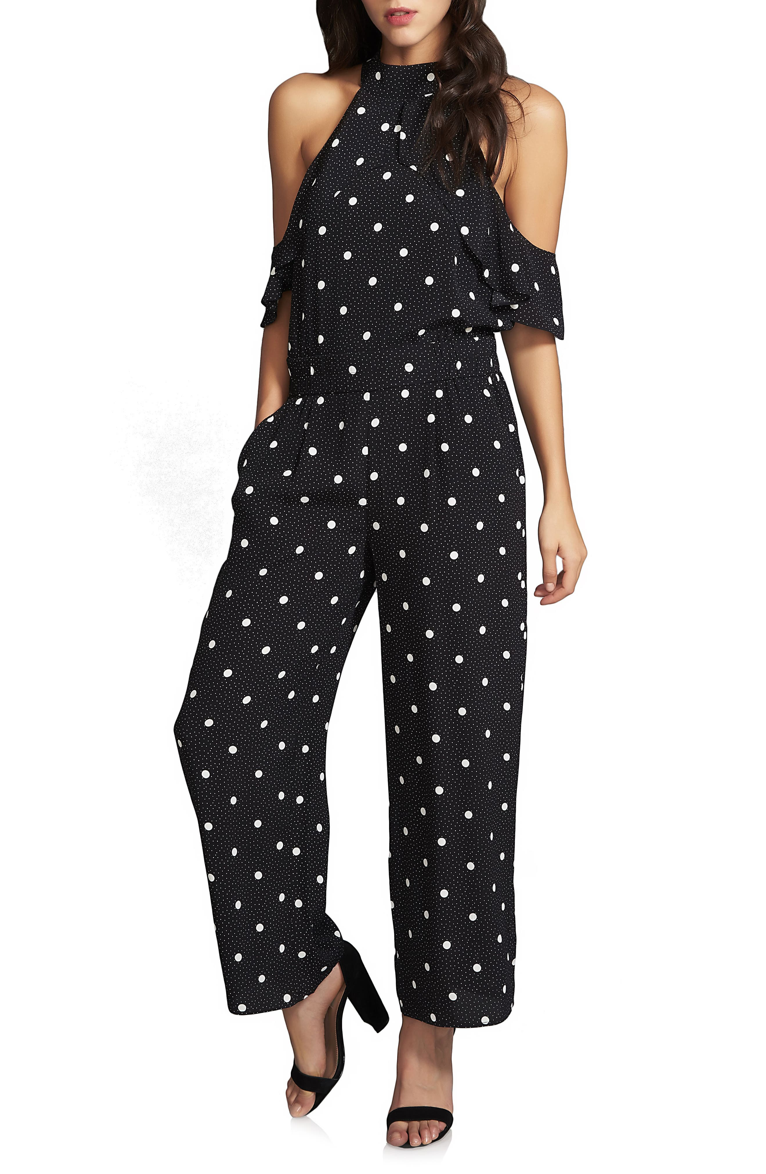 1.STATE Ruffle Cold Shoulder Jumpsuit