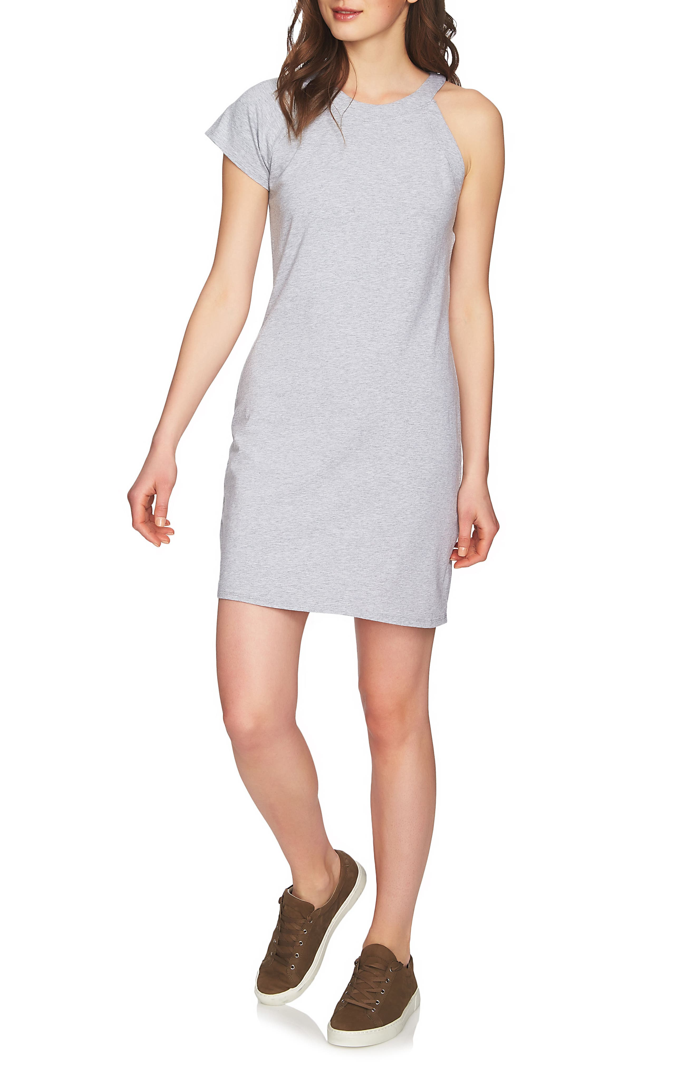 One-Sleeve Body-Con Dress,                             Main thumbnail 1, color,                             Light Heather Grey