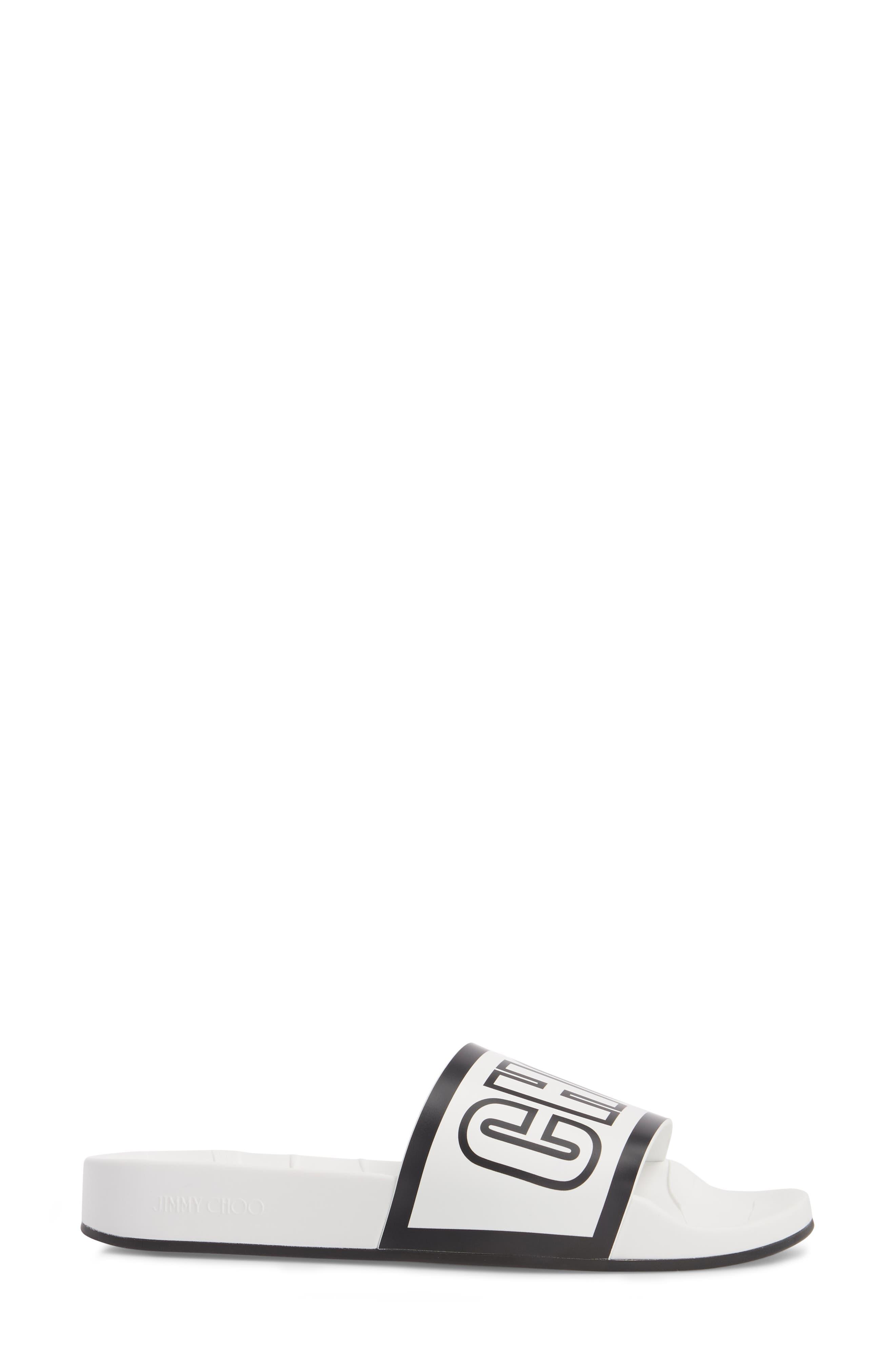 Rey Logo Slide Sandal,                             Alternate thumbnail 3, color,                             Chalk/ Black