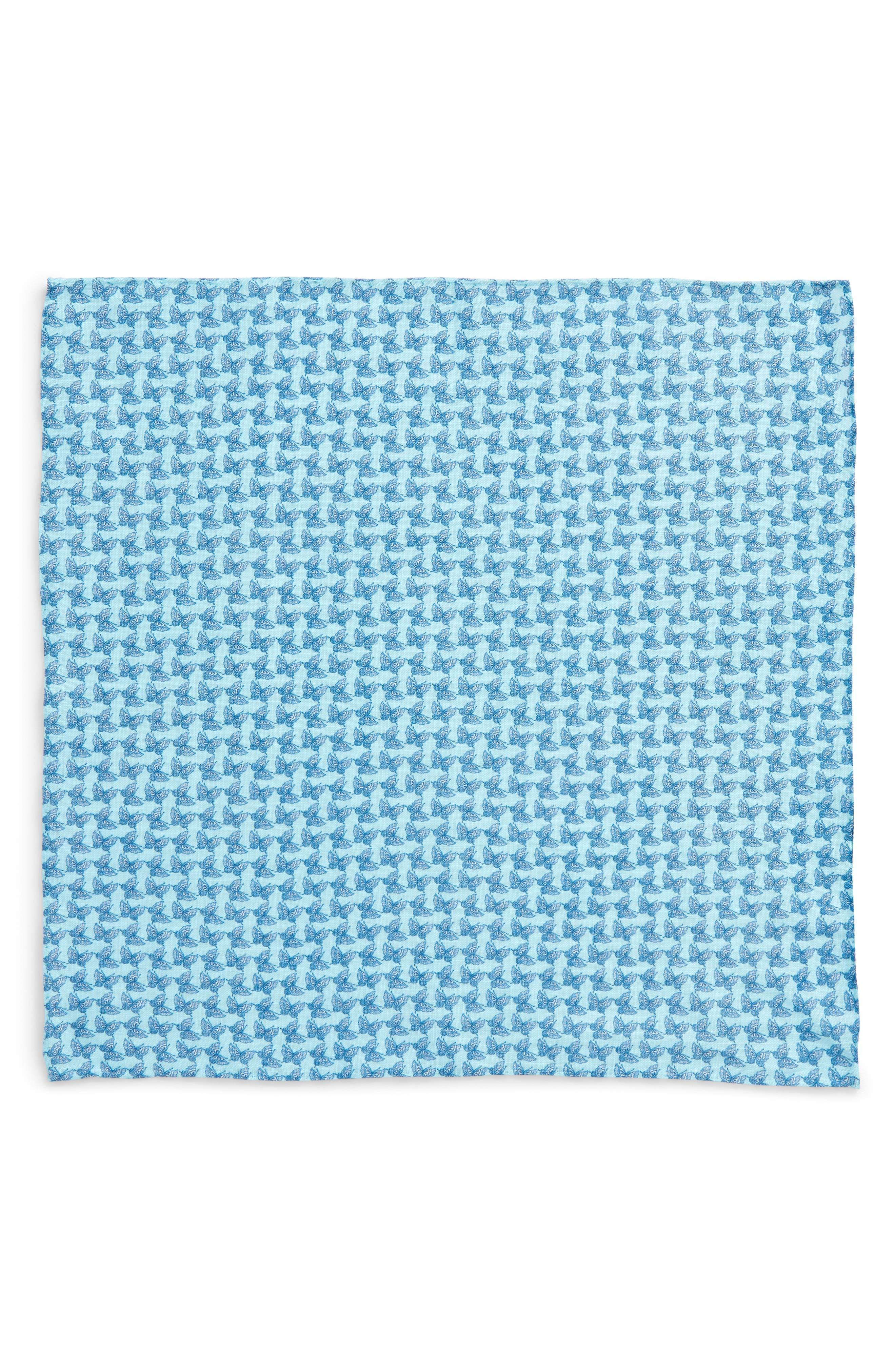 Butterfly Season Print Linen Pocket Square,                             Alternate thumbnail 3, color,                             Paradise Blue