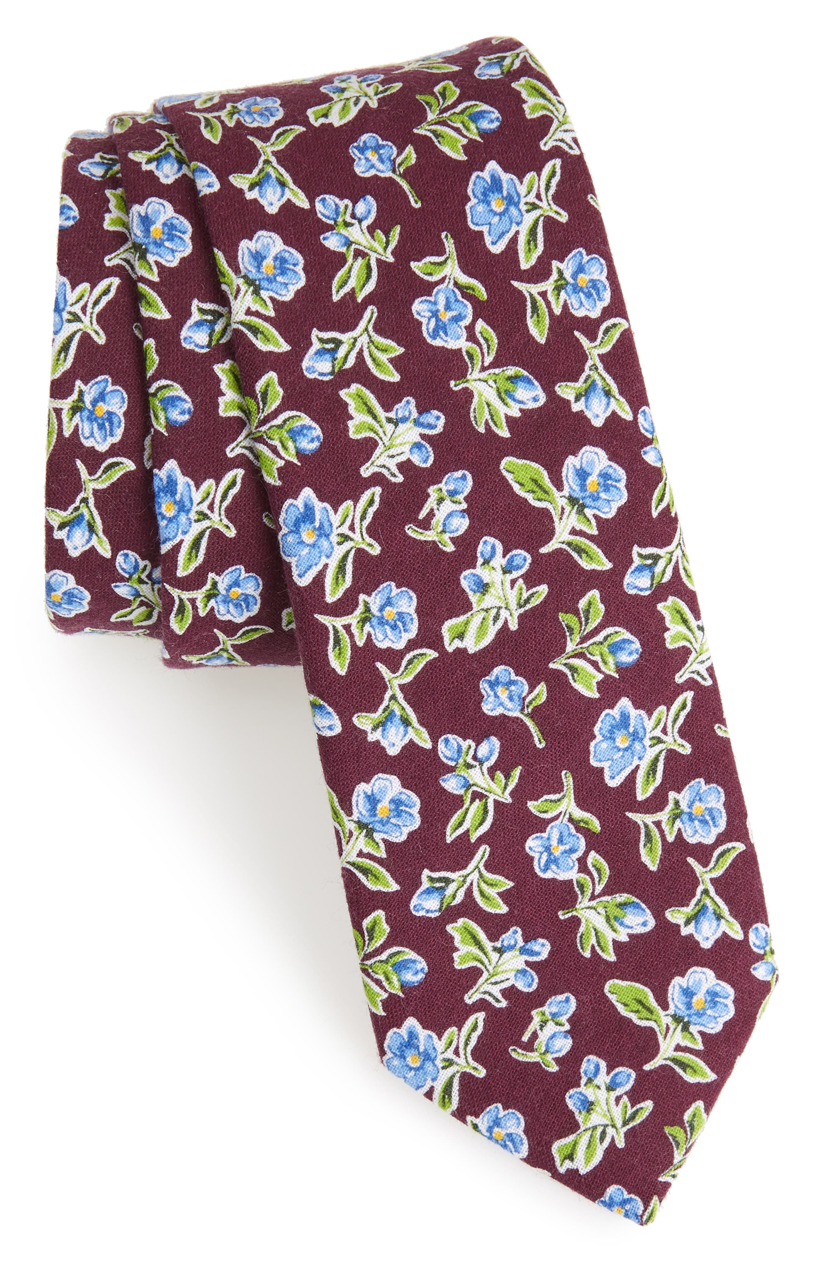 Kendals Floral Cotton Skinny Tie,                             Main thumbnail 1, color,                             Berry