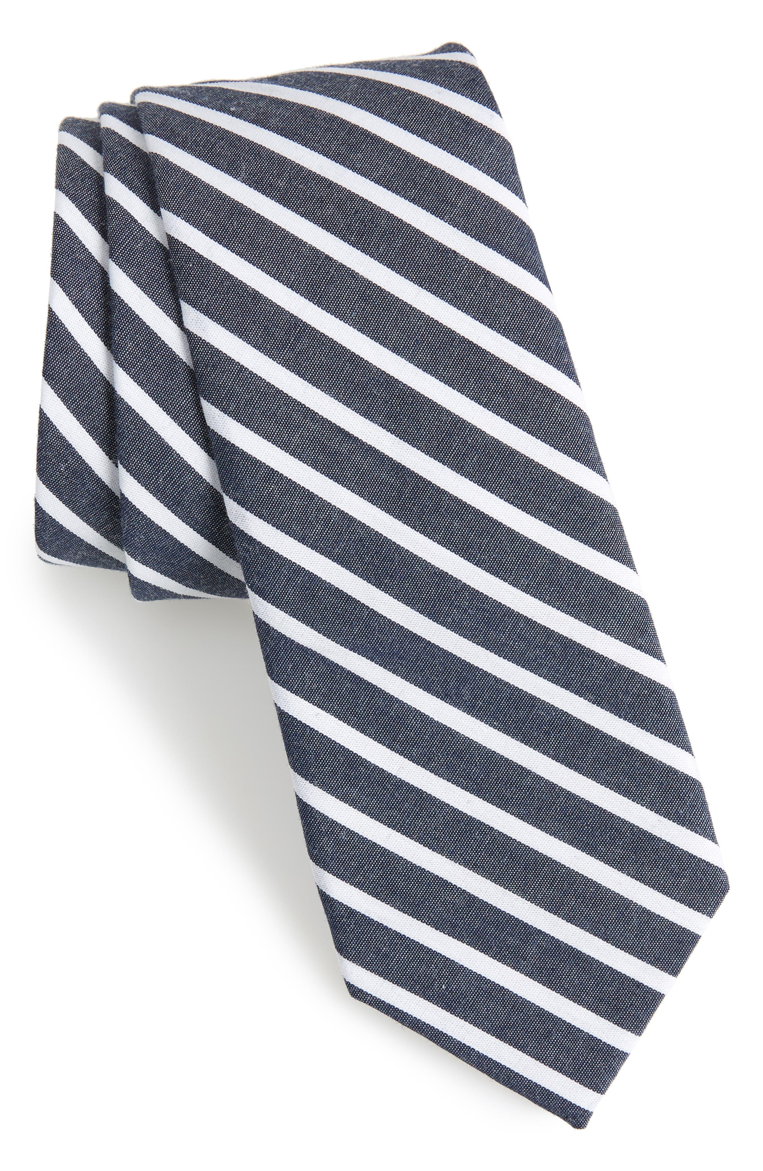 Holborn Stripe Cotton Skinny Tie,                             Main thumbnail 1, color,                             Navy