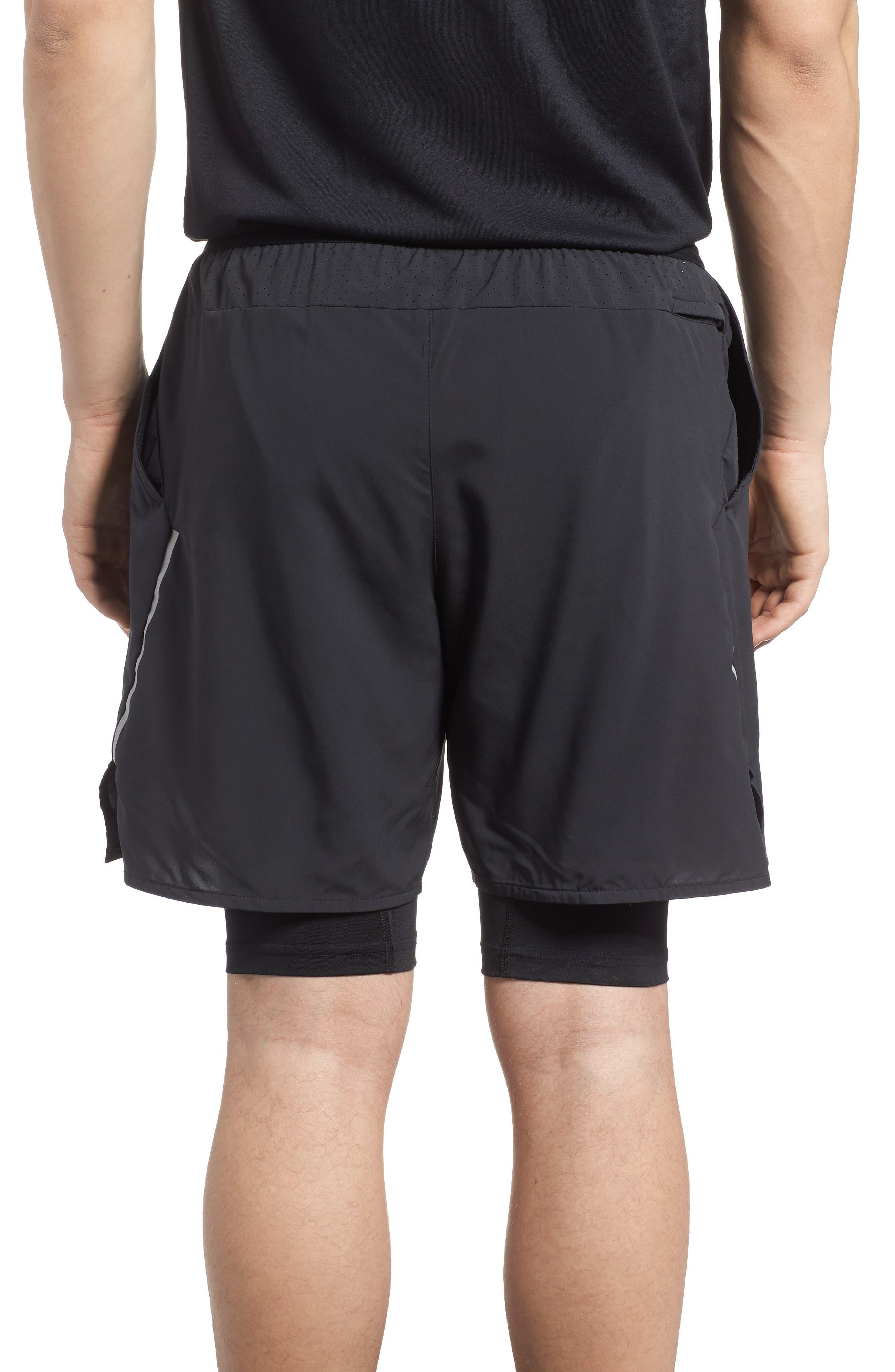 Flex Distance Running Shorts,                             Alternate thumbnail 2, color,                             Black/ Black