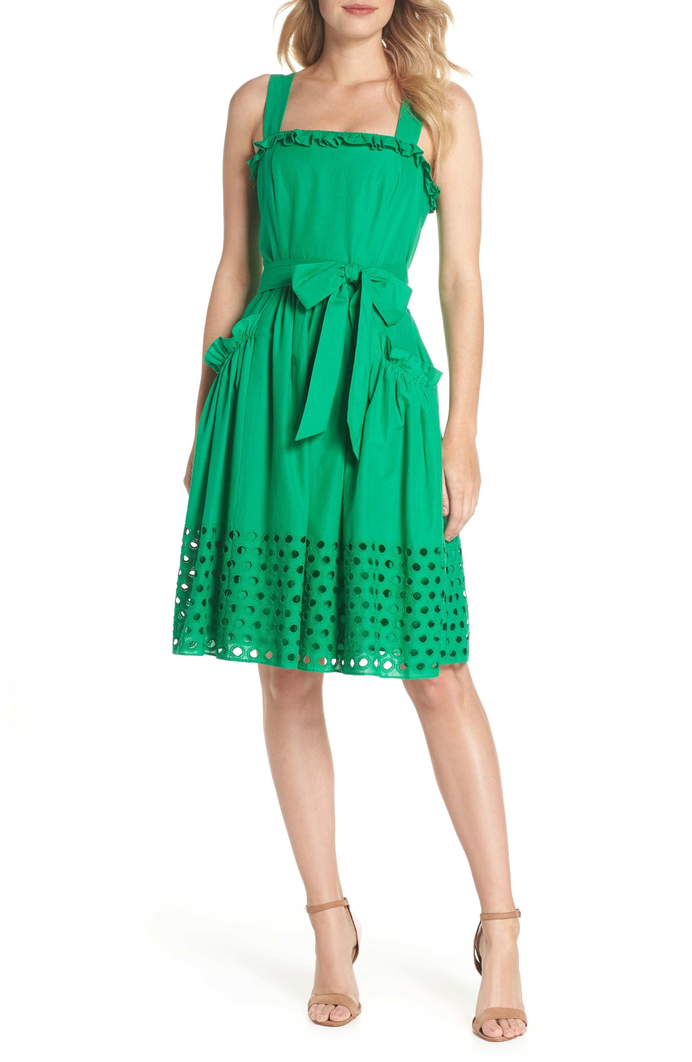 Eyelet Hem Fit & Flare Sundress,                         Main,                         color, Green