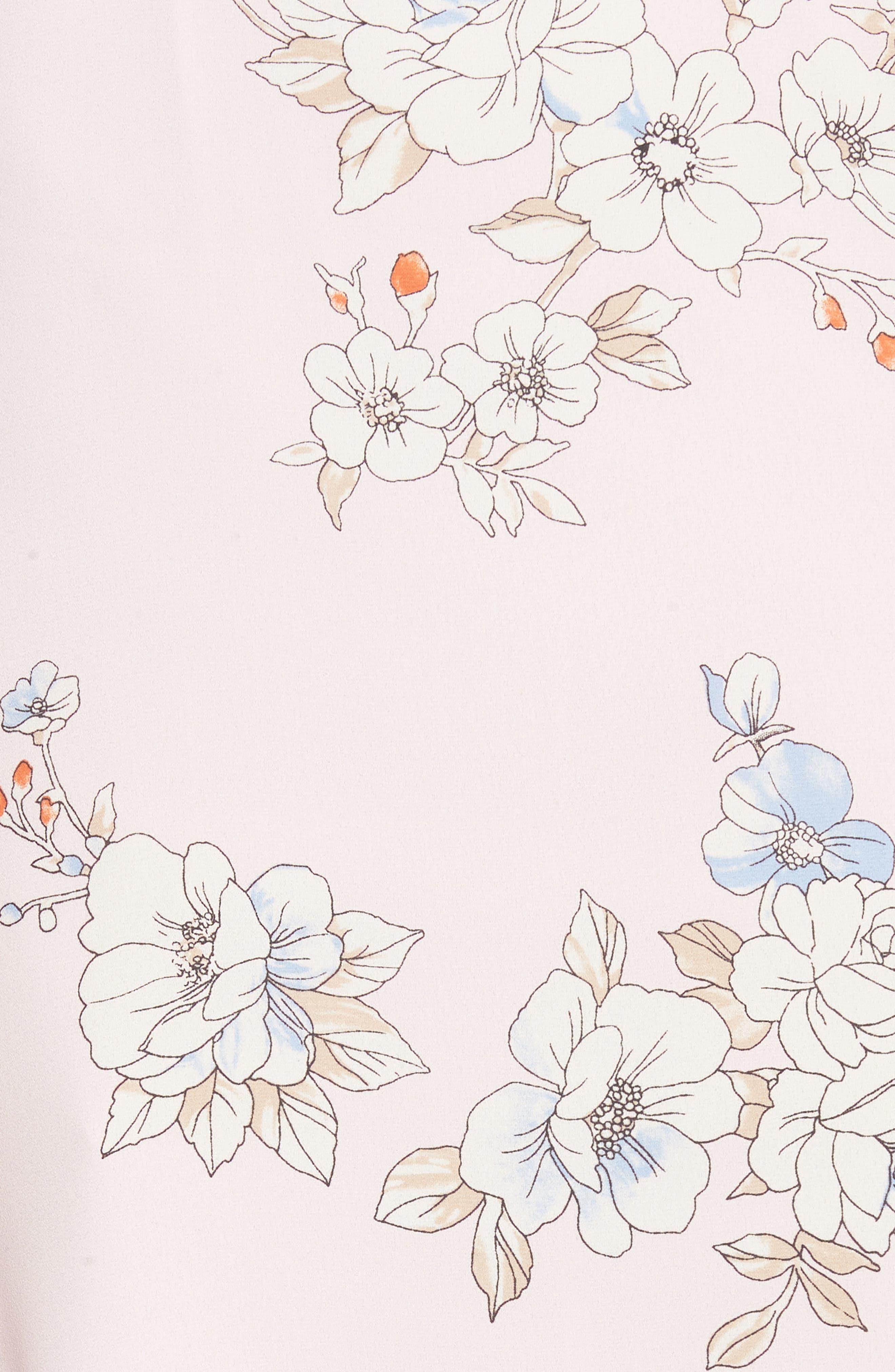 Surplice Maxi Dress,                             Alternate thumbnail 6, color,                             Pale Pink Floral