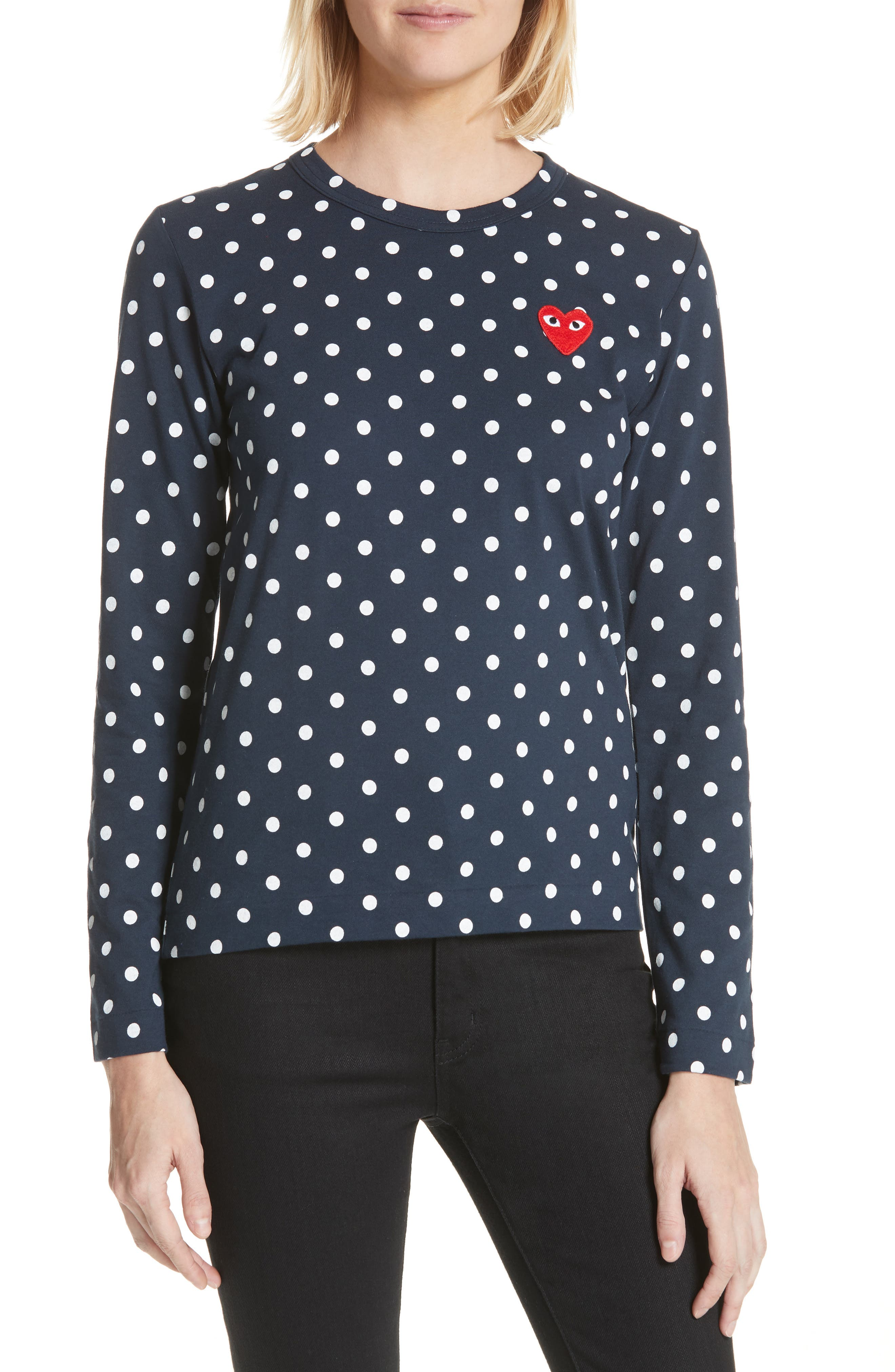 Comme des Garçons PLAY Red Heart Polka Dot Tee,                             Main thumbnail 1, color,                             Navy/ White