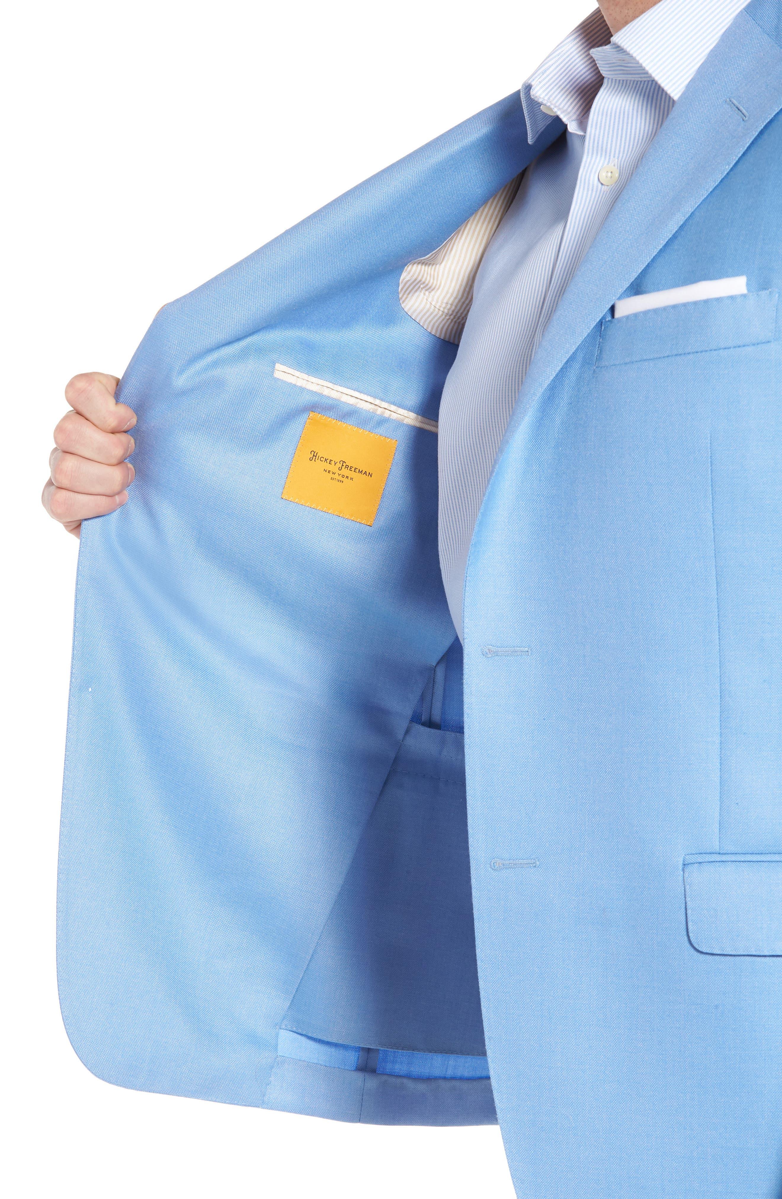 Classic B Fit Wool & Silk Blazer,                             Alternate thumbnail 4, color,                             Light Blue Solid