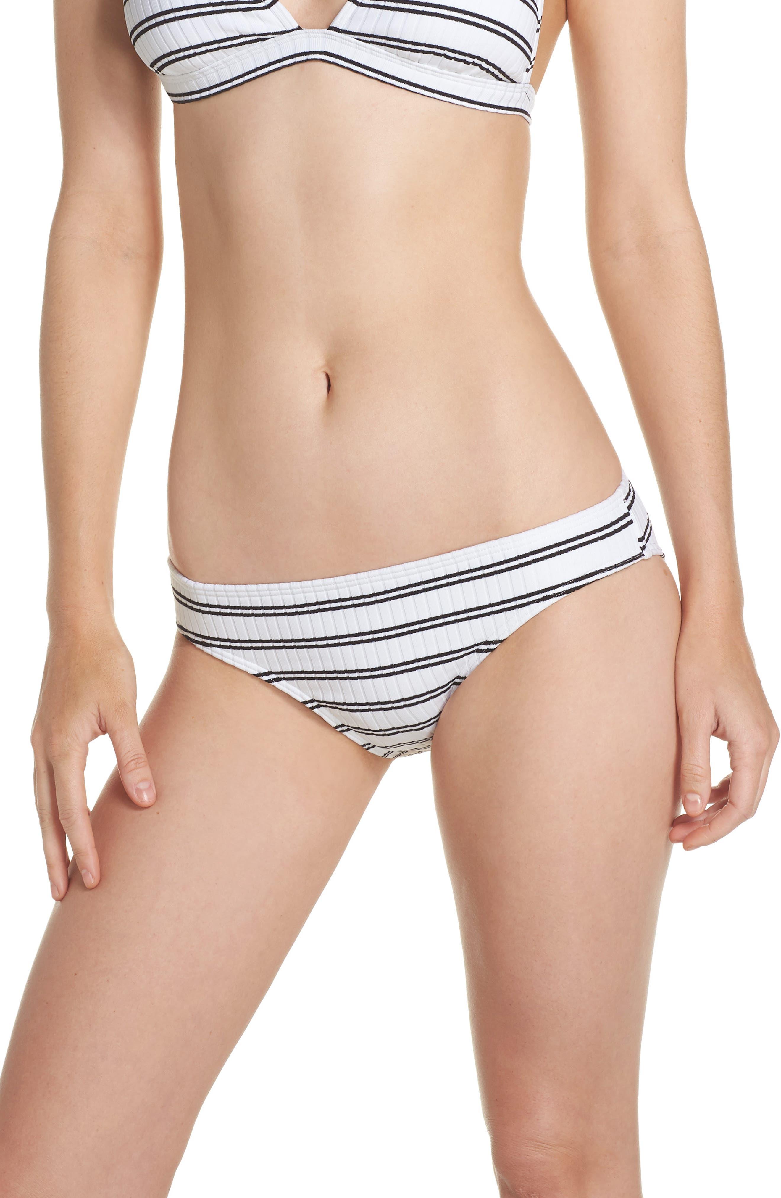 Inka Striped Hipster Bikini Bottoms,                             Main thumbnail 1, color,                             White