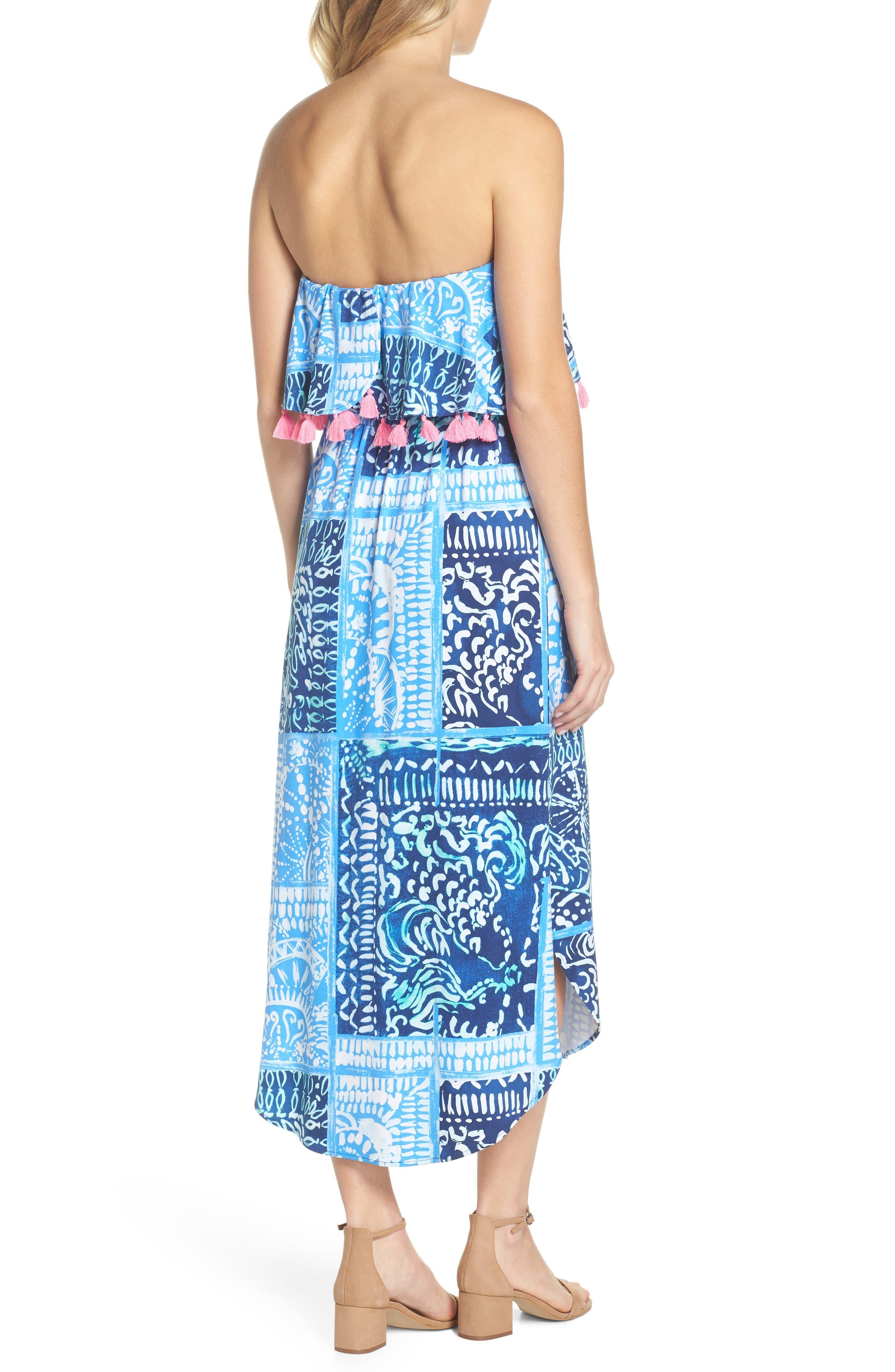 Meridian Strapless Midi Dress,                             Alternate thumbnail 2, color,                             Deep Indigo Leid Back