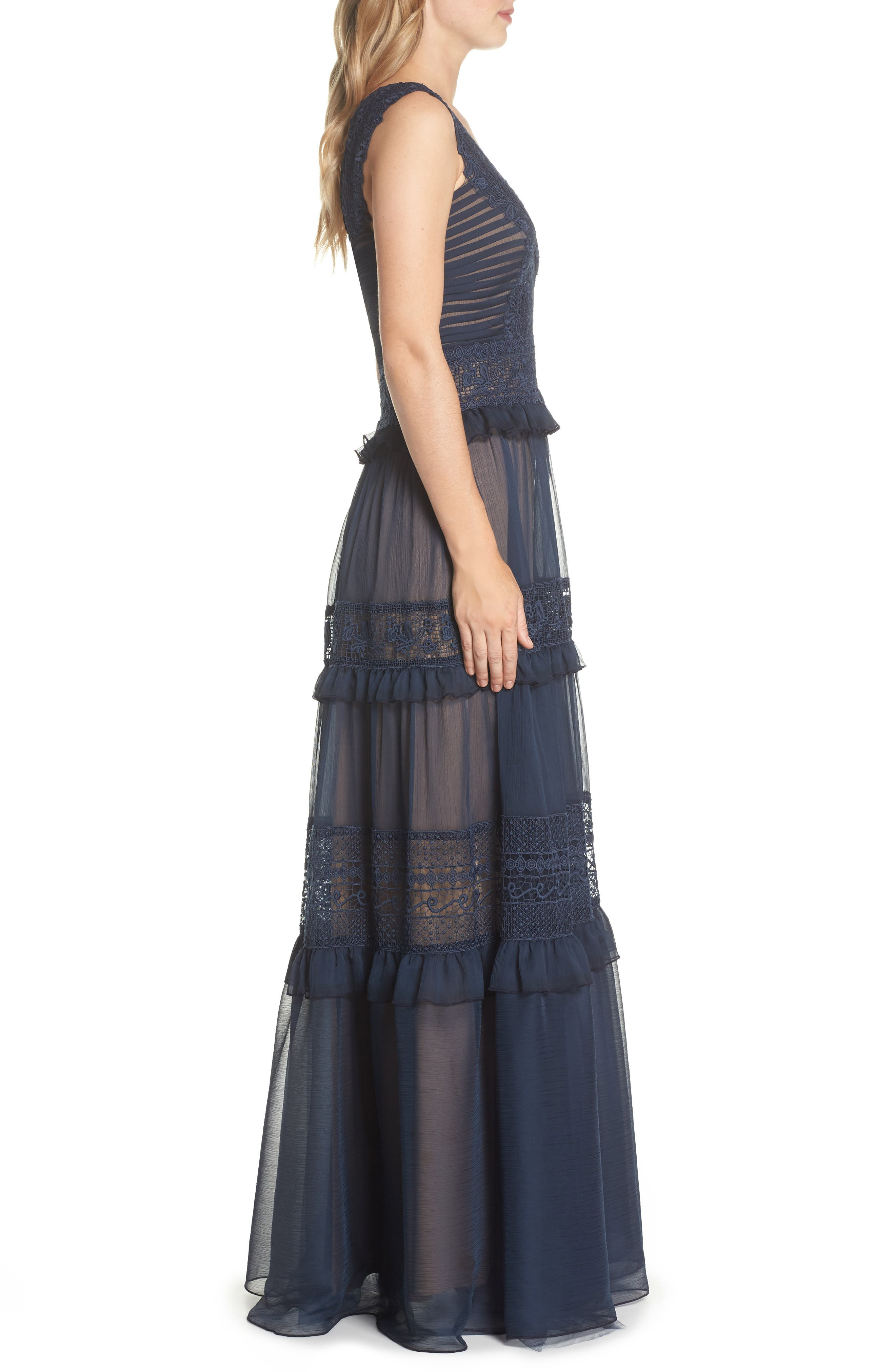 Tiered Lace & Chiffon Gown,                             Alternate thumbnail 3, color,                             Navy/ Nude