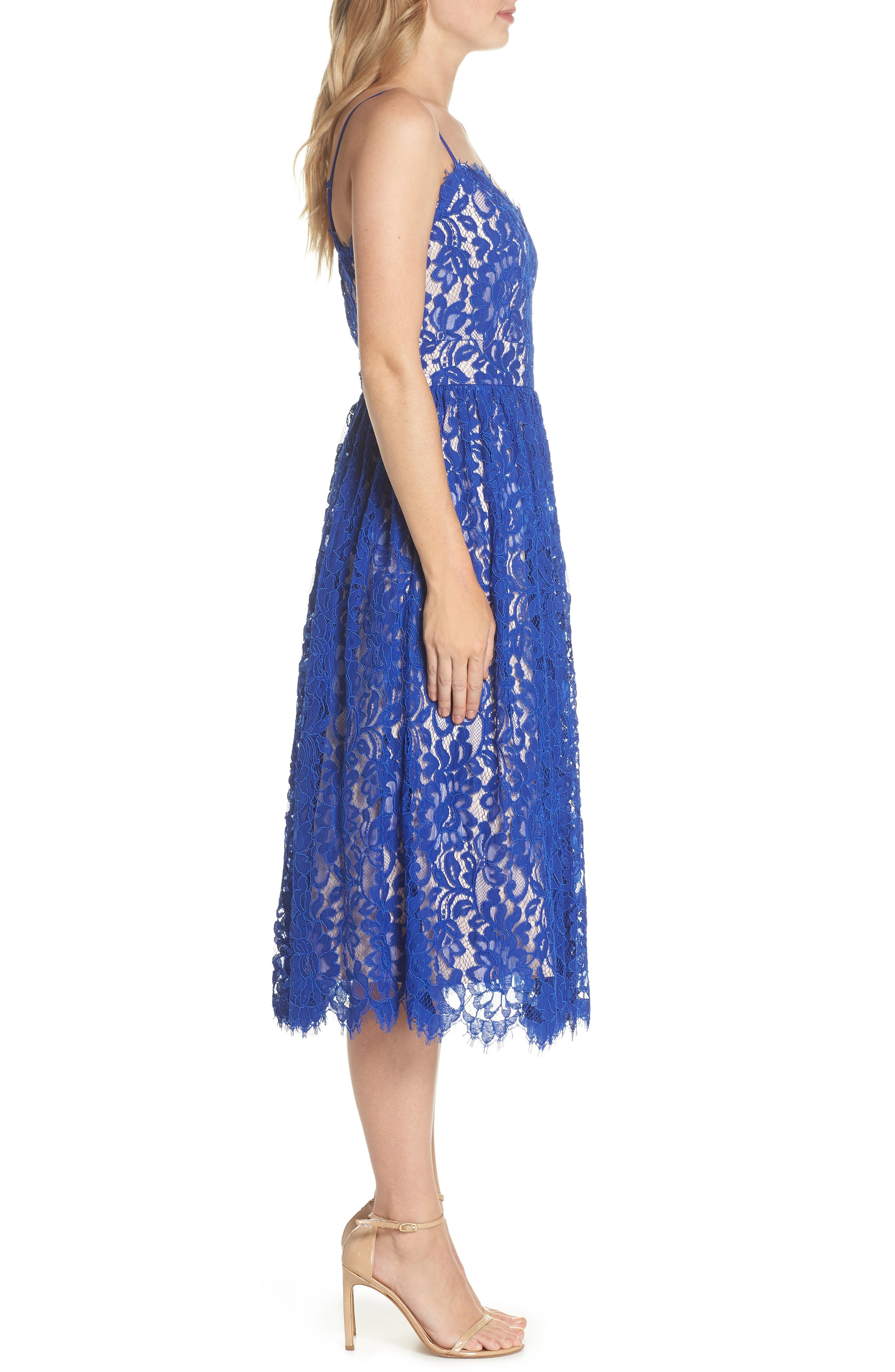 Gathered Lace Midi Dress,                             Alternate thumbnail 3, color,                             Cobalt