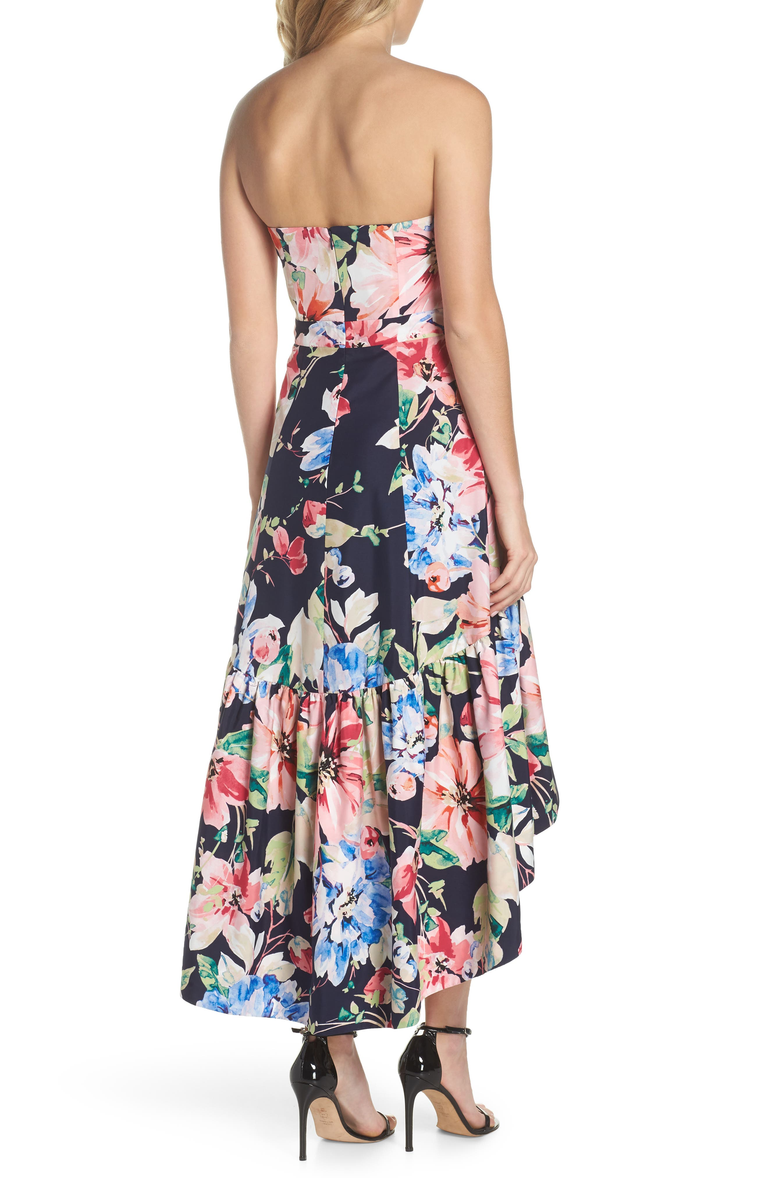 Strapless High/Low Dress,                             Alternate thumbnail 2, color,                             Navy/ Red