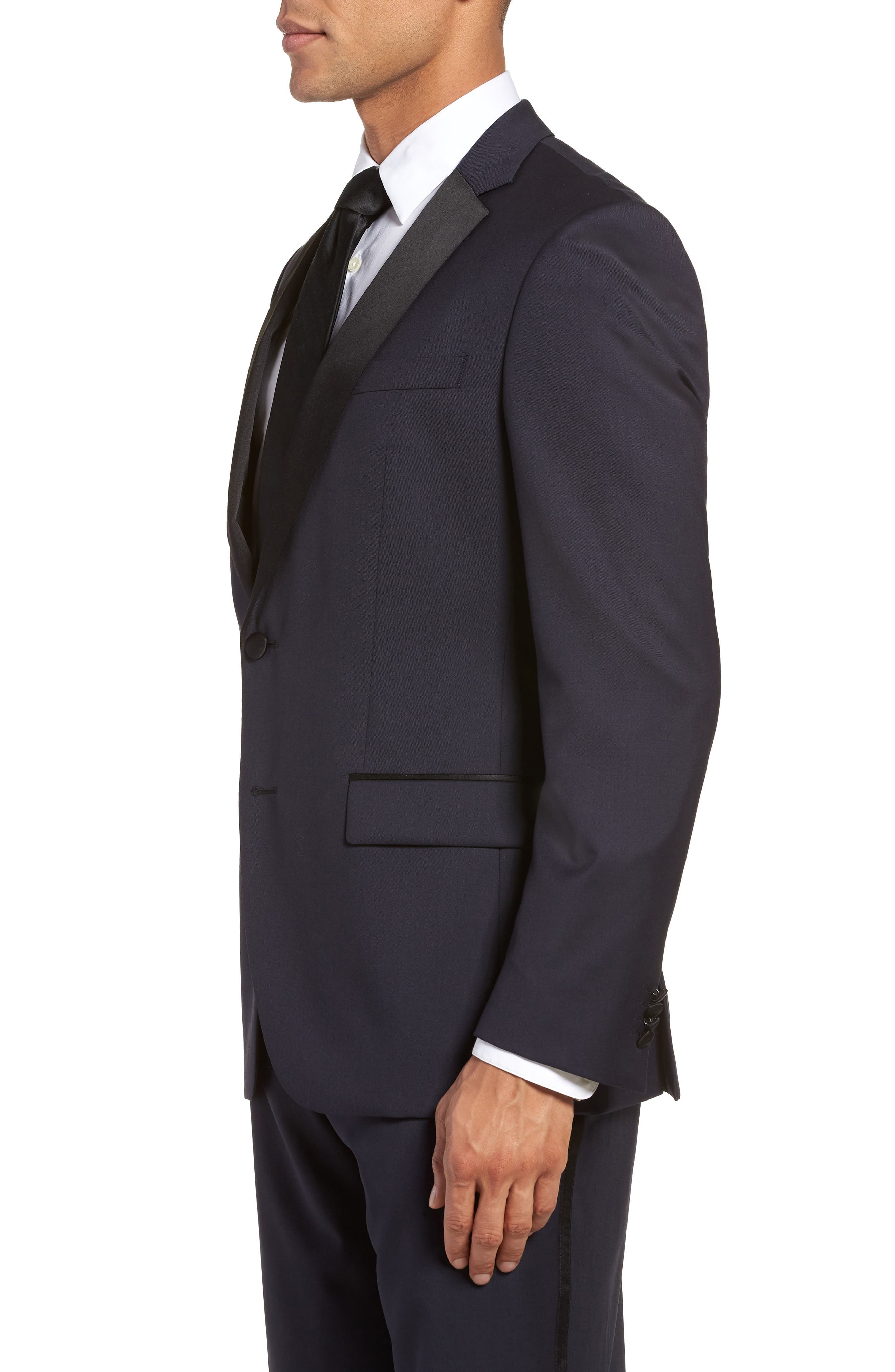 Hence CYL Trim Fit Wool Dinner Jacket,                             Alternate thumbnail 3, color,                             Dark Blue