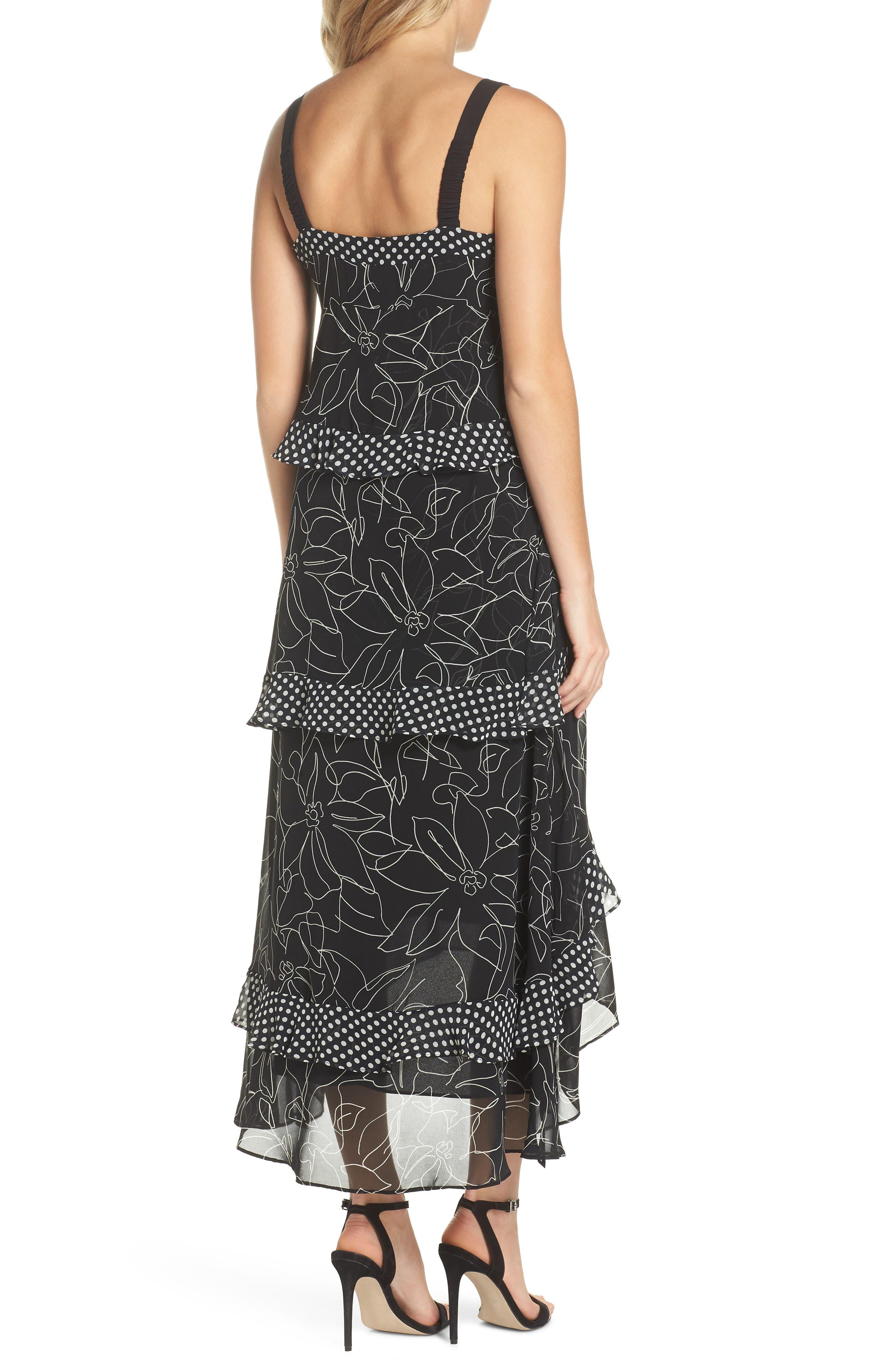 Polka Dot & Floral Tiered Maxi Dress,                             Alternate thumbnail 2, color,                             Black Ivory