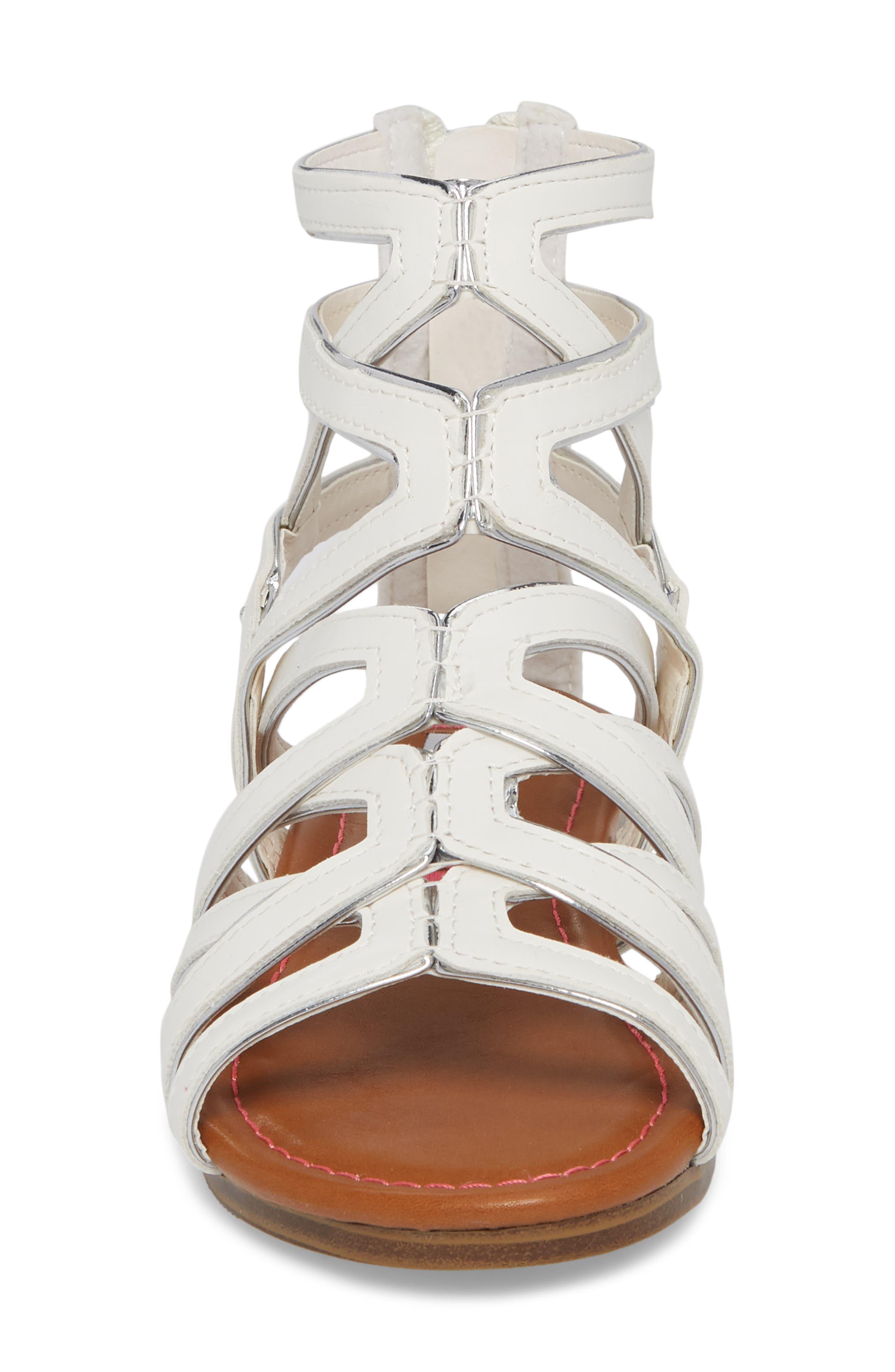 Jessence Gladiator Sandal,                             Alternate thumbnail 4, color,                             White