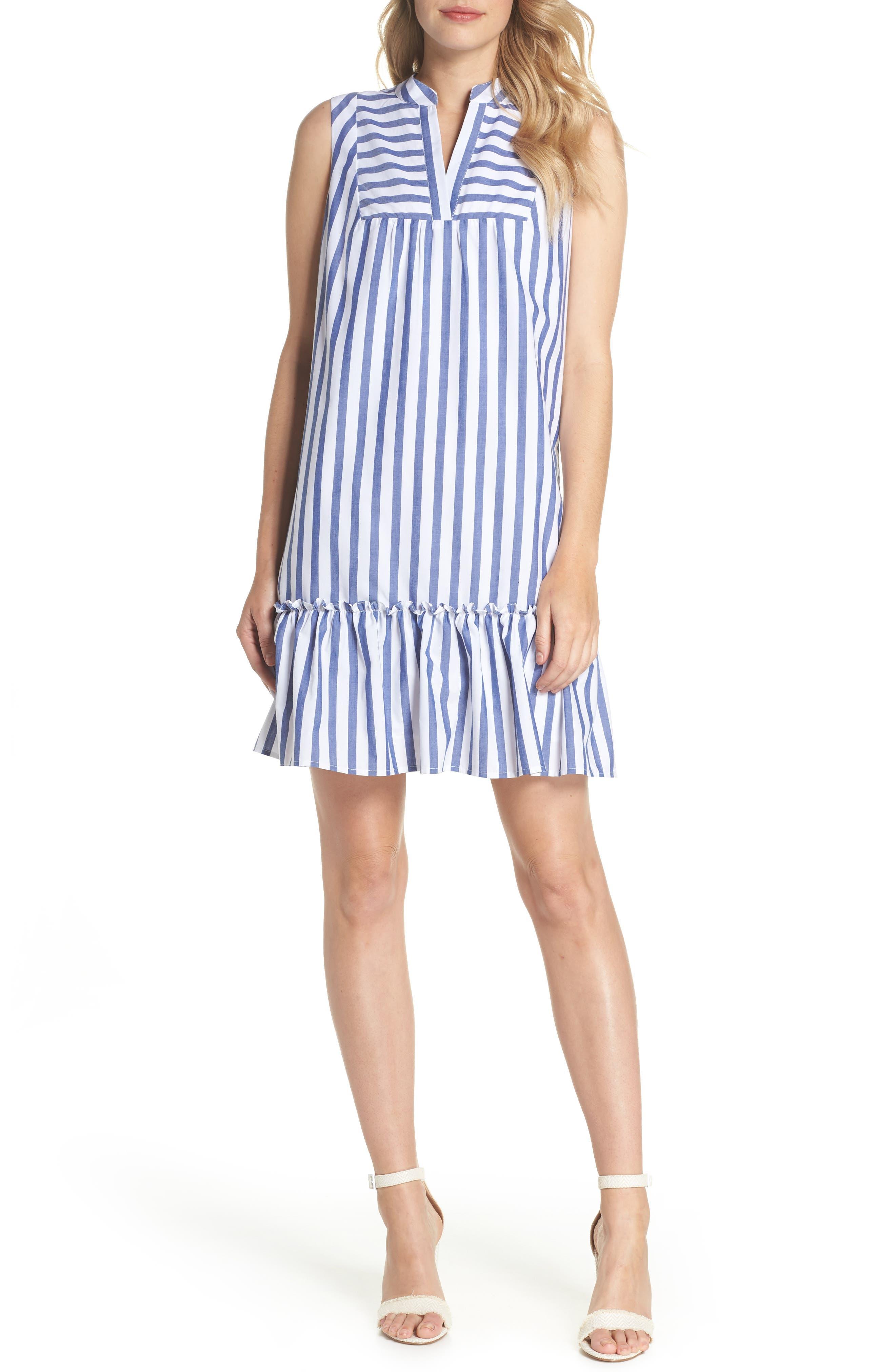 Stripe Bib Front Sleeveless Shift Dress,                             Main thumbnail 1, color,                             Ivory/ Blue Stripe