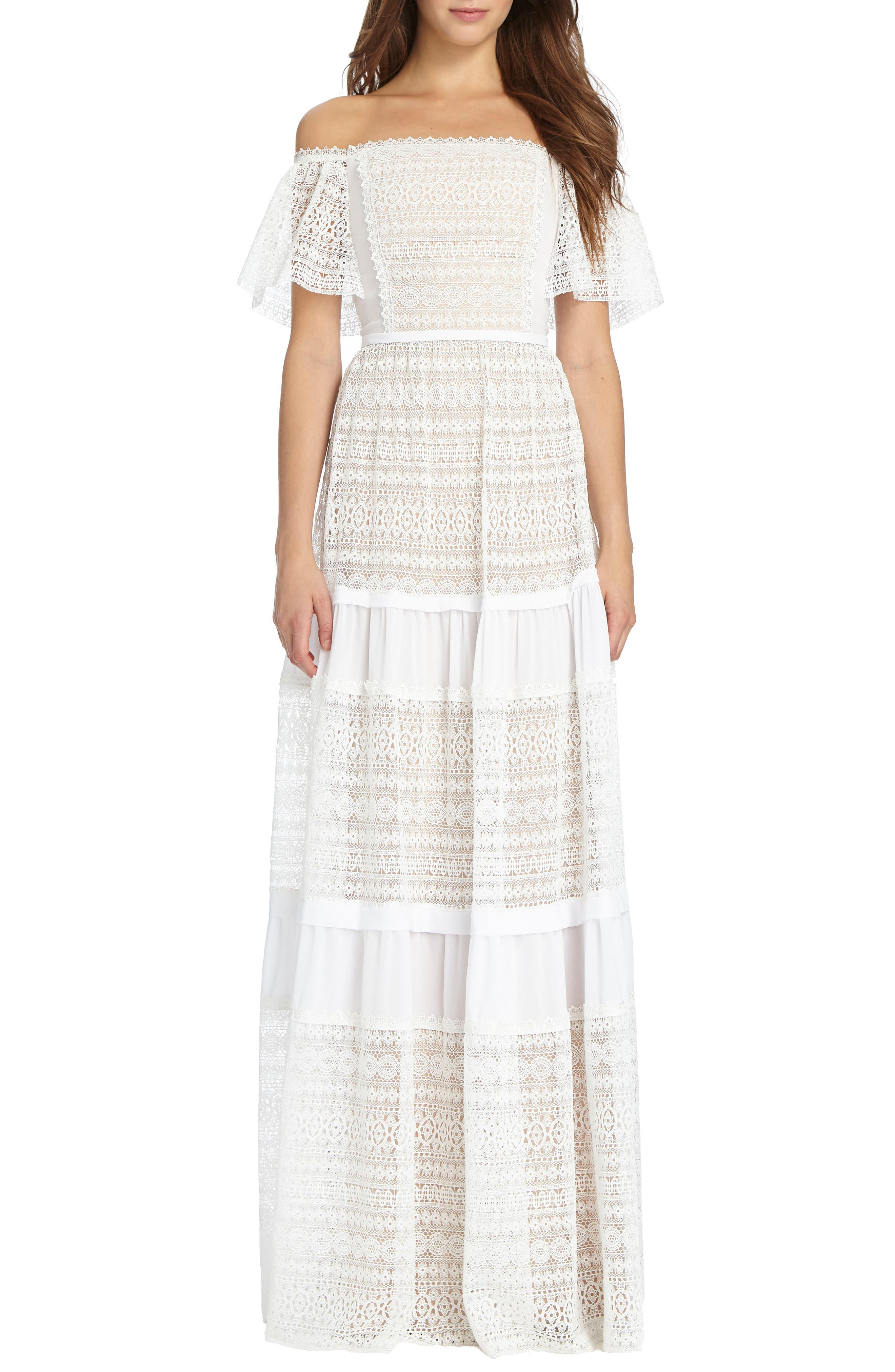 Off the Shoulder Lace Gown,                         Main,                         color, White