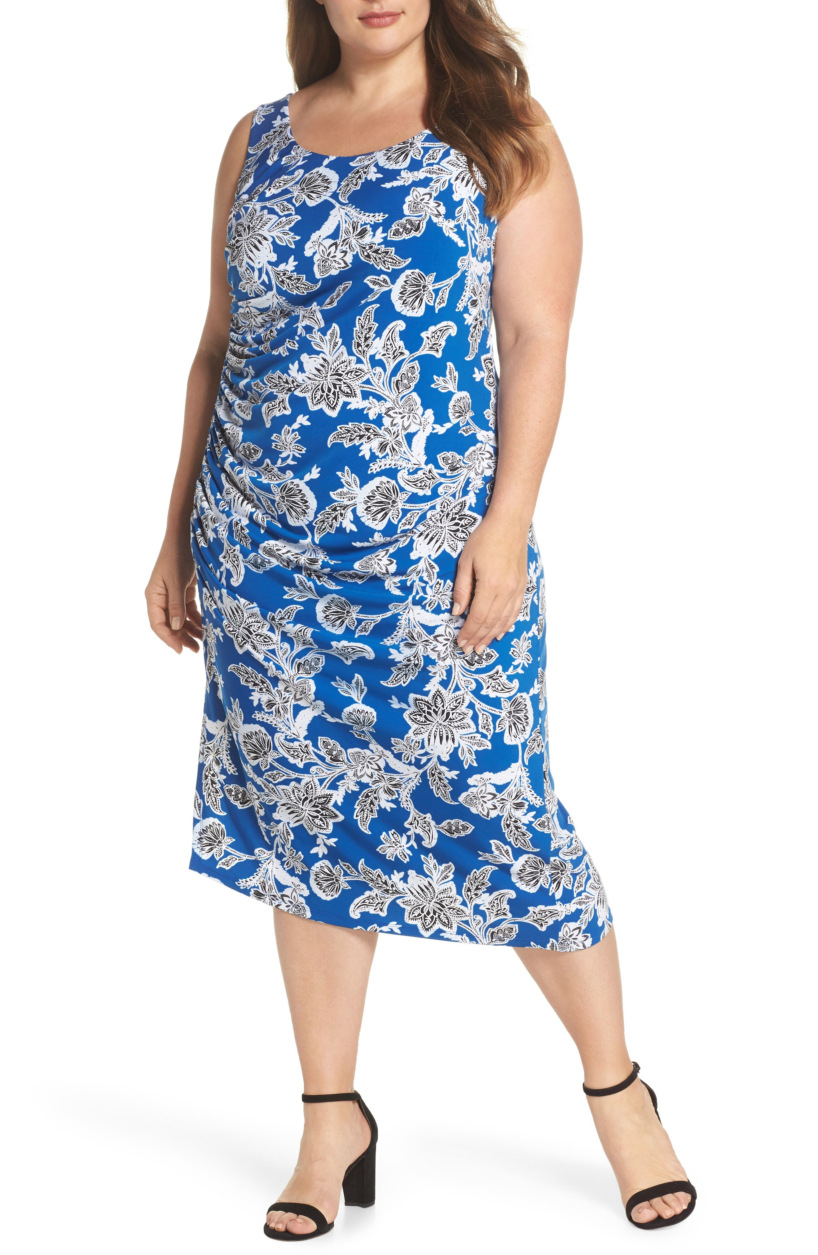 Woodblock Floral Side Ruched Body-Con Dress,                         Main,                         color, Amalfi