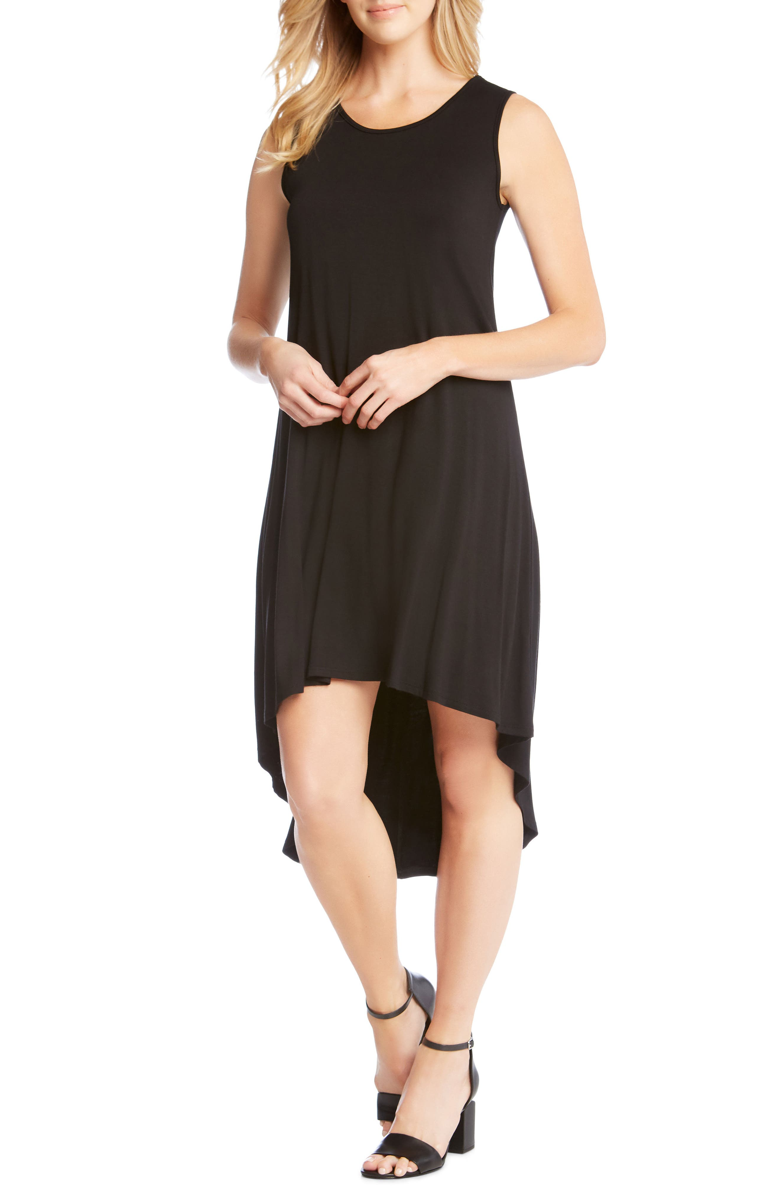 Charlie High/Low Stretch Jersey Dress,                             Main thumbnail 1, color,                             Black