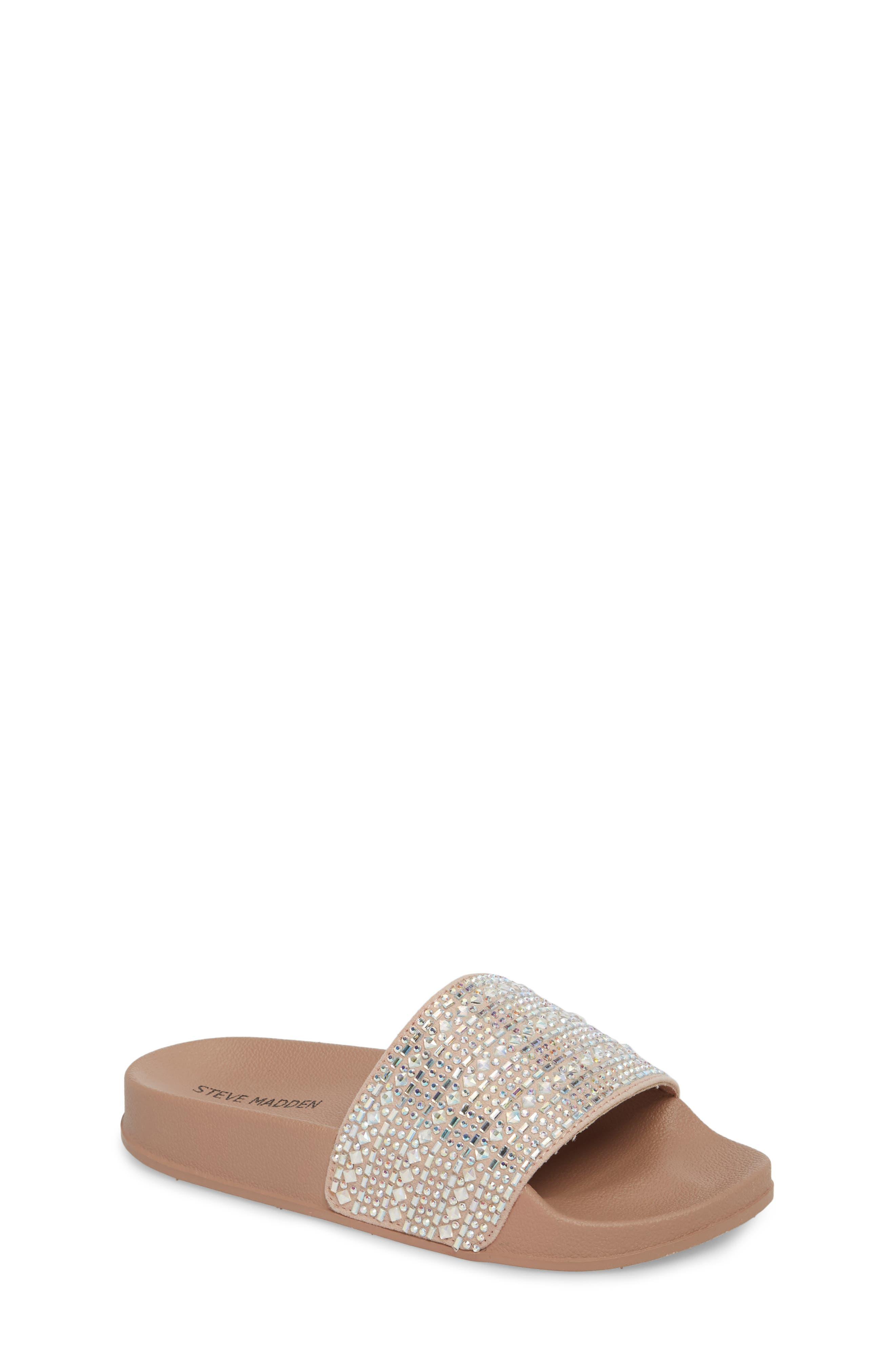 JDAZZLE Crystal Embellished Slide Sandal,                         Main,                         color, Blush