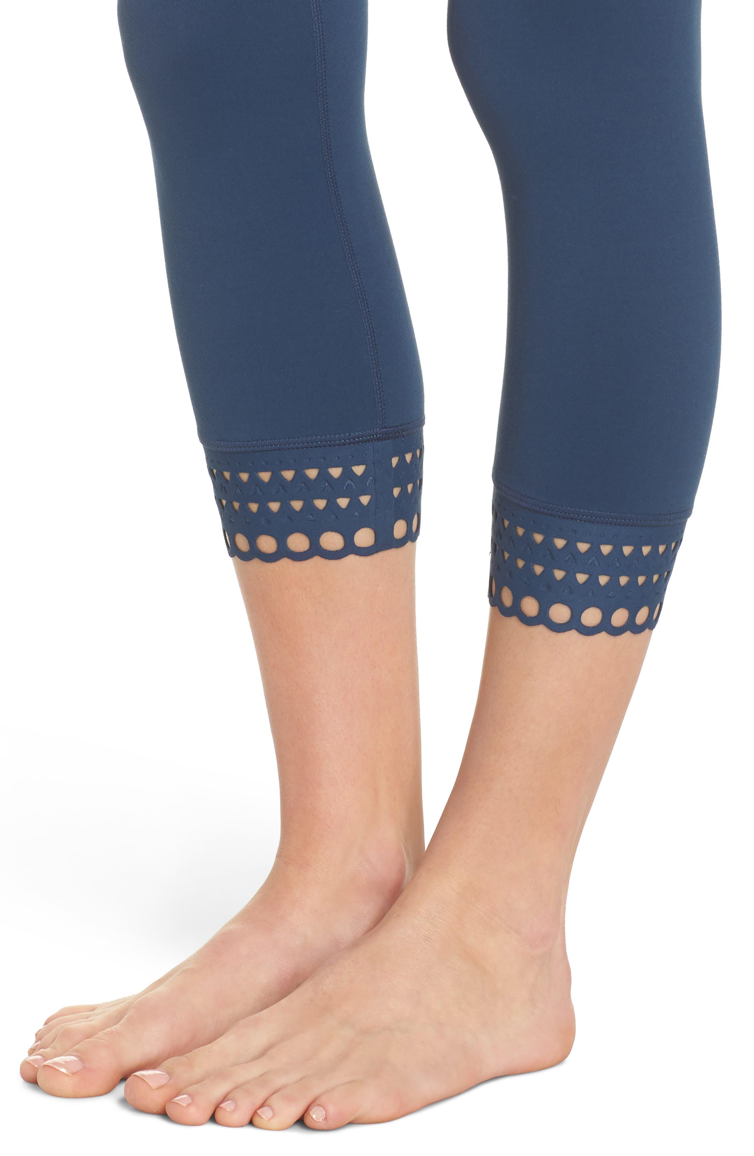 Cross the Line Crop Leggings,                             Alternate thumbnail 4, color,                             Blue Insignia