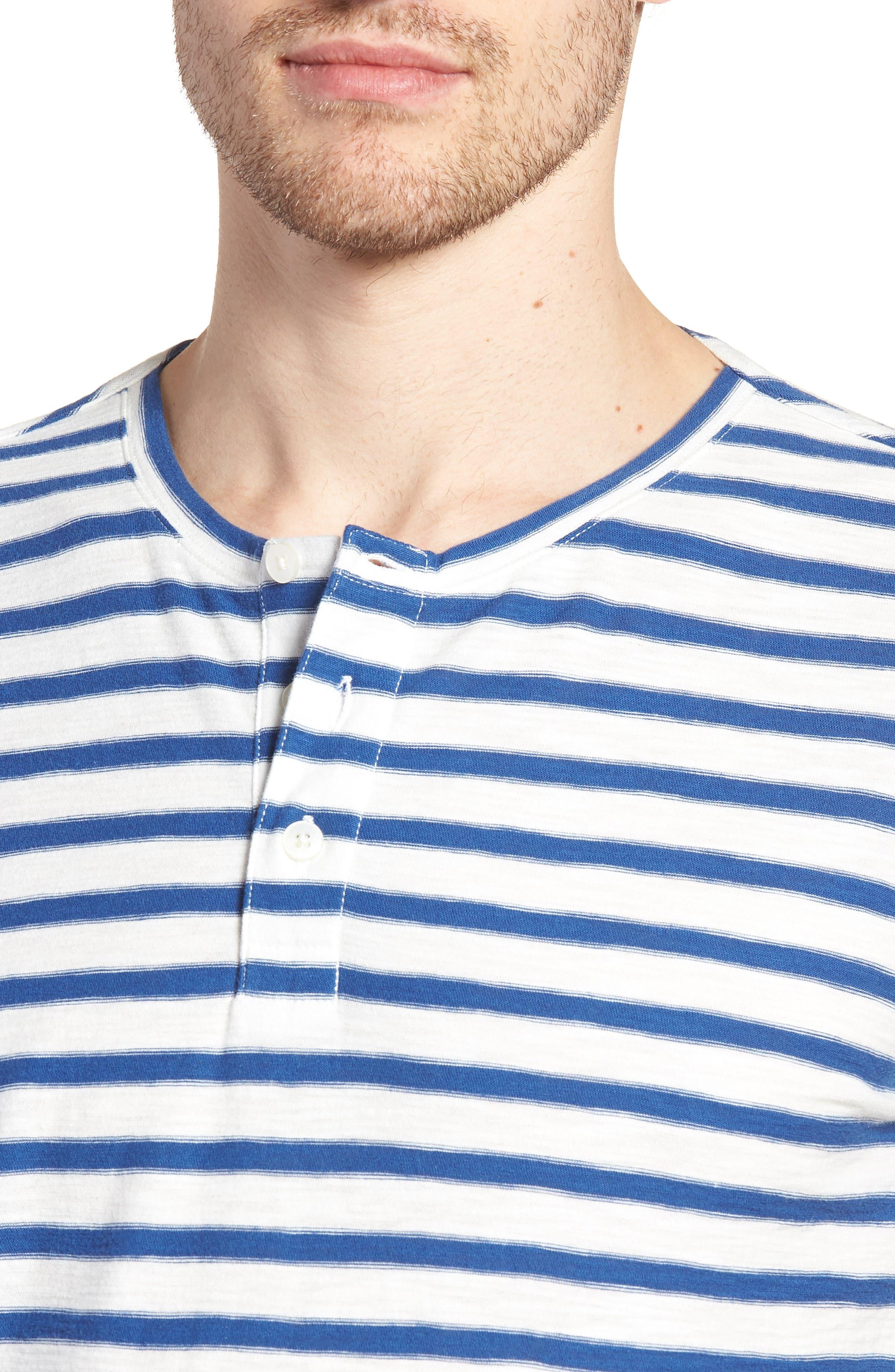 Stripe Henley T-Shirt,                             Alternate thumbnail 4, color,                             Gold Coast Print