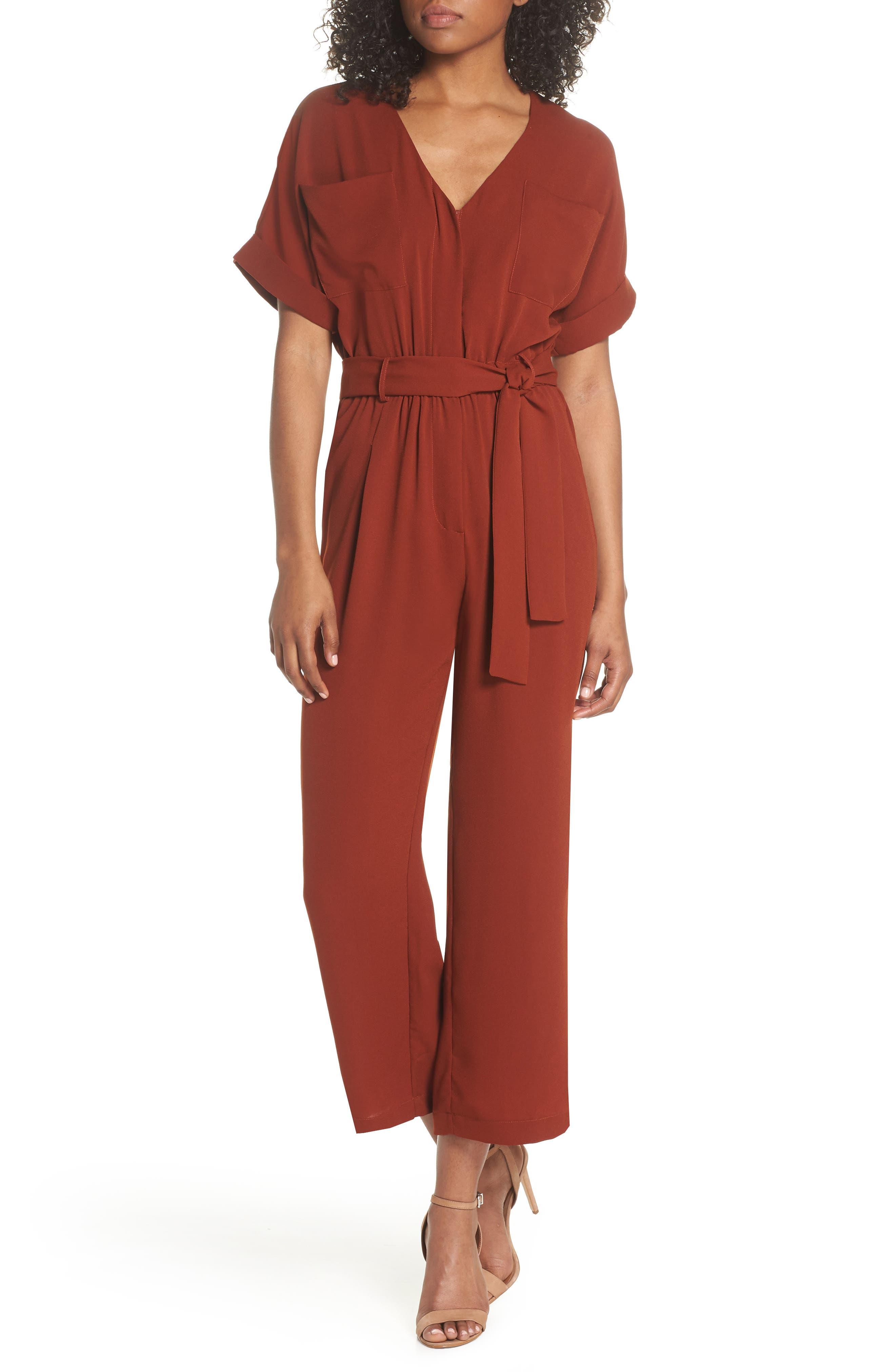 V-Neck Jumpsuit,                         Main,                         color, Burgundy