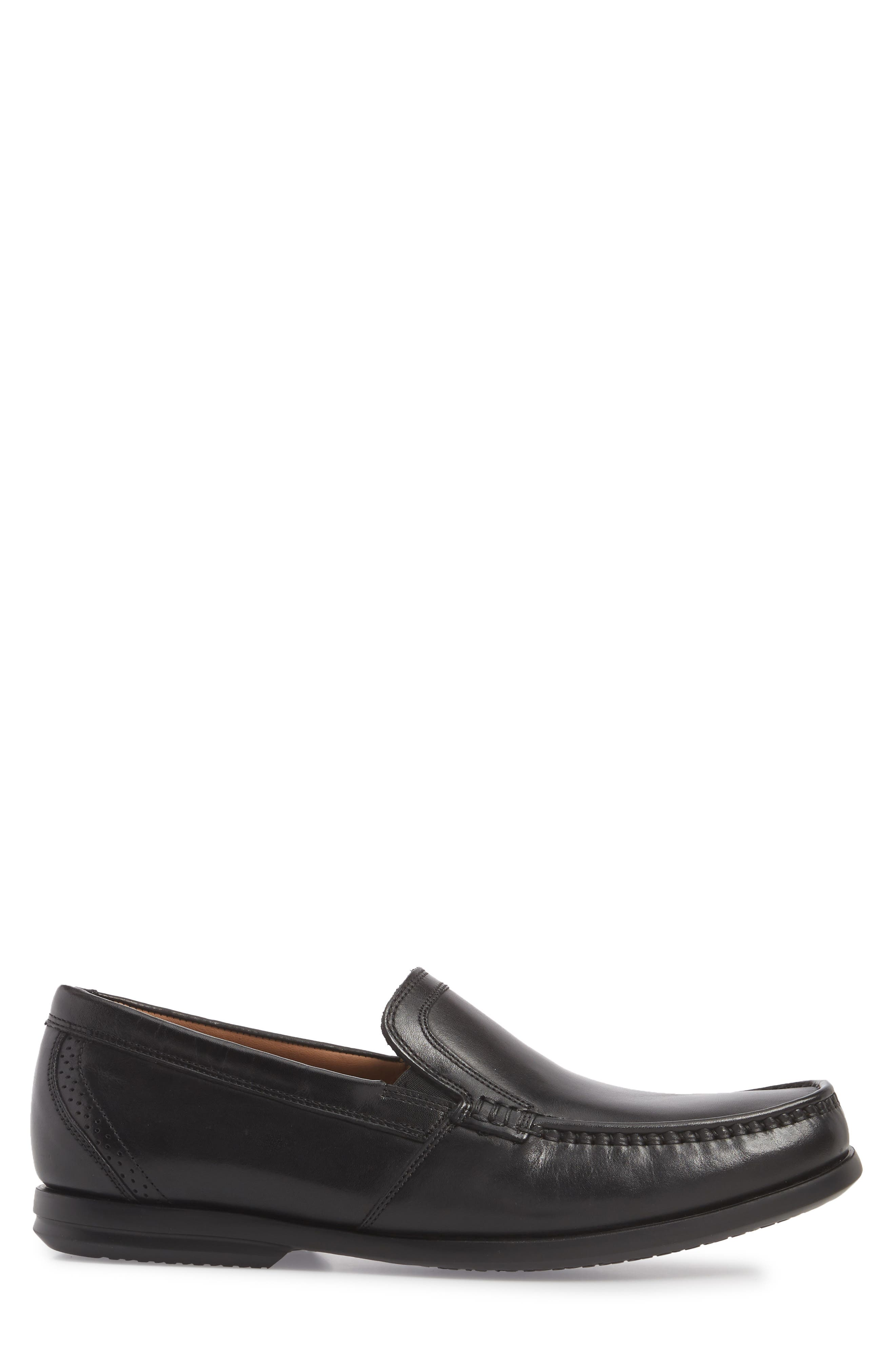Clarks<sup>®</sup> Ungala Free Venetian Loafer,                             Alternate thumbnail 3, color,                             Black Leather