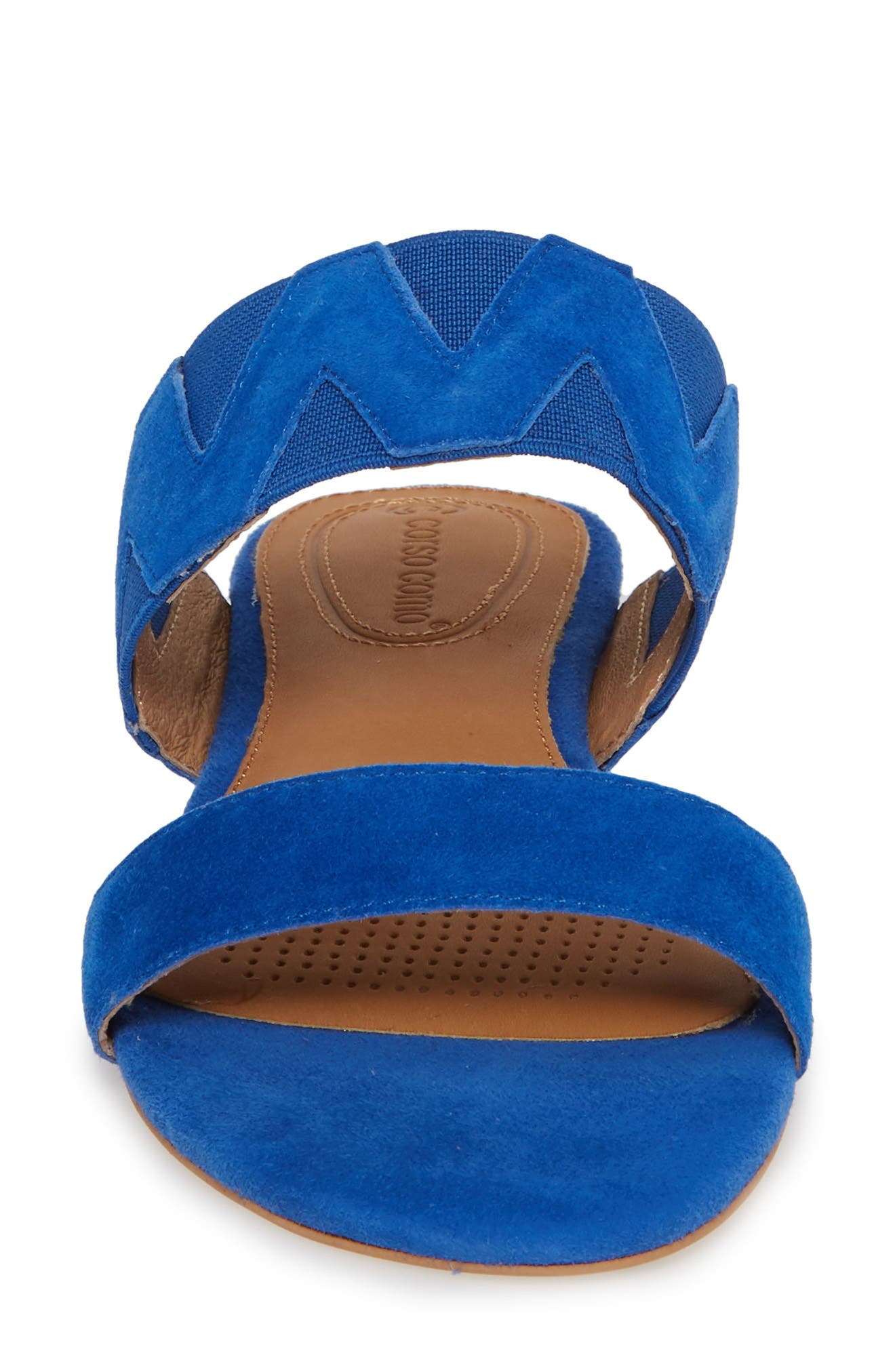 Vickee Double Band Sandal,                             Alternate thumbnail 4, color,                             Royal Blue Leather