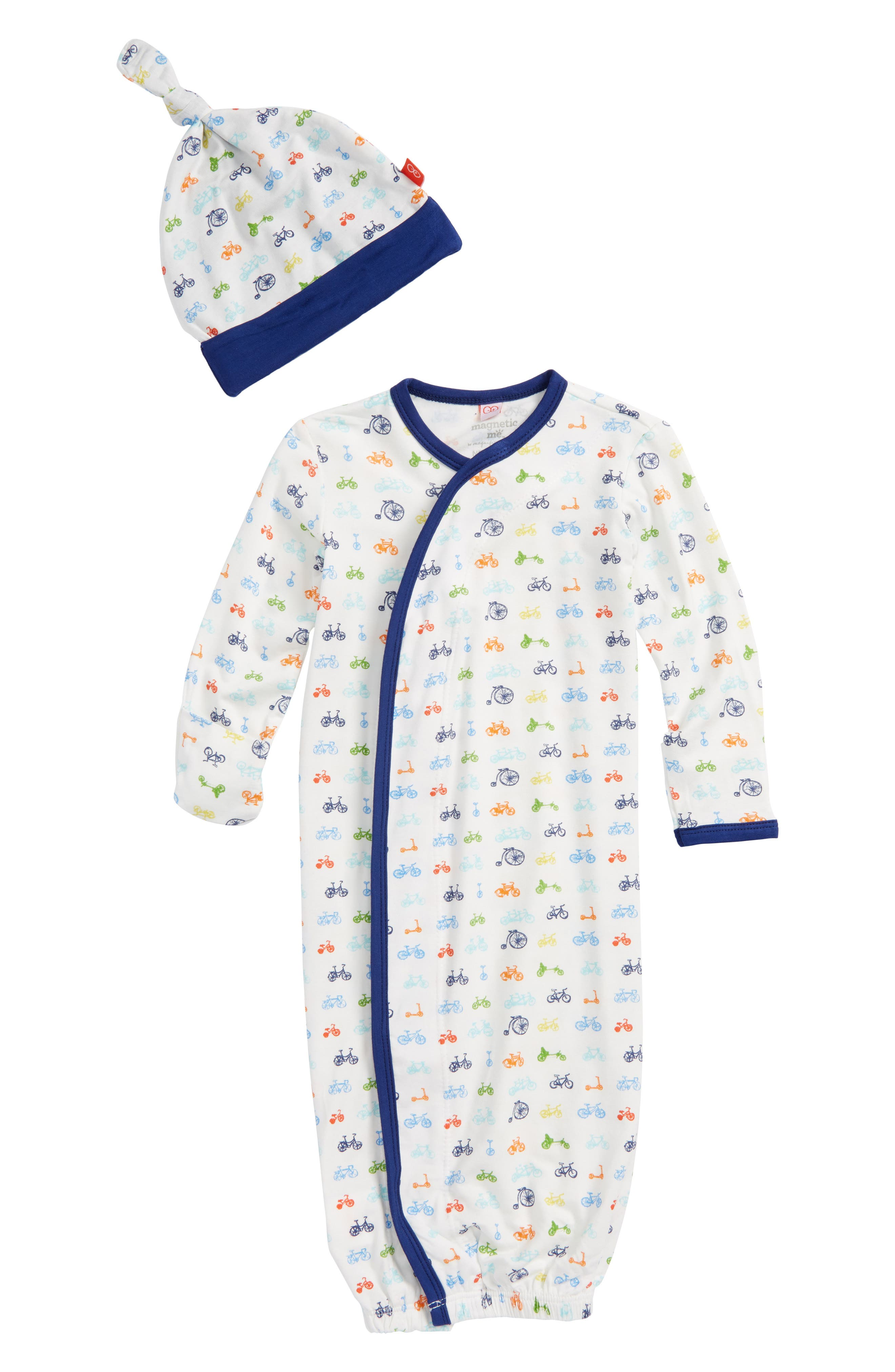 Main Image - Magnetic Me Bikes Gown & Hat Set (Baby Boys)