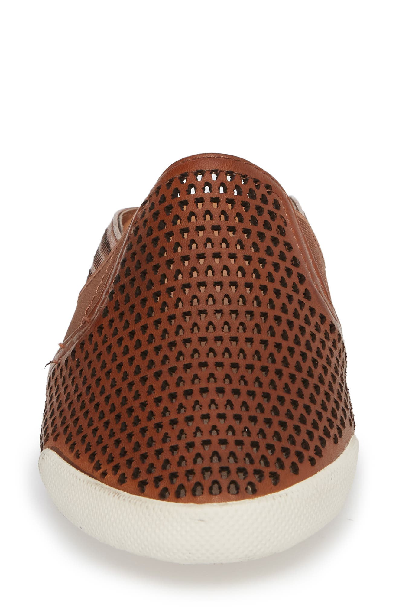 Melanie Perforated Mule,                             Alternate thumbnail 4, color,                             Cognac Leather