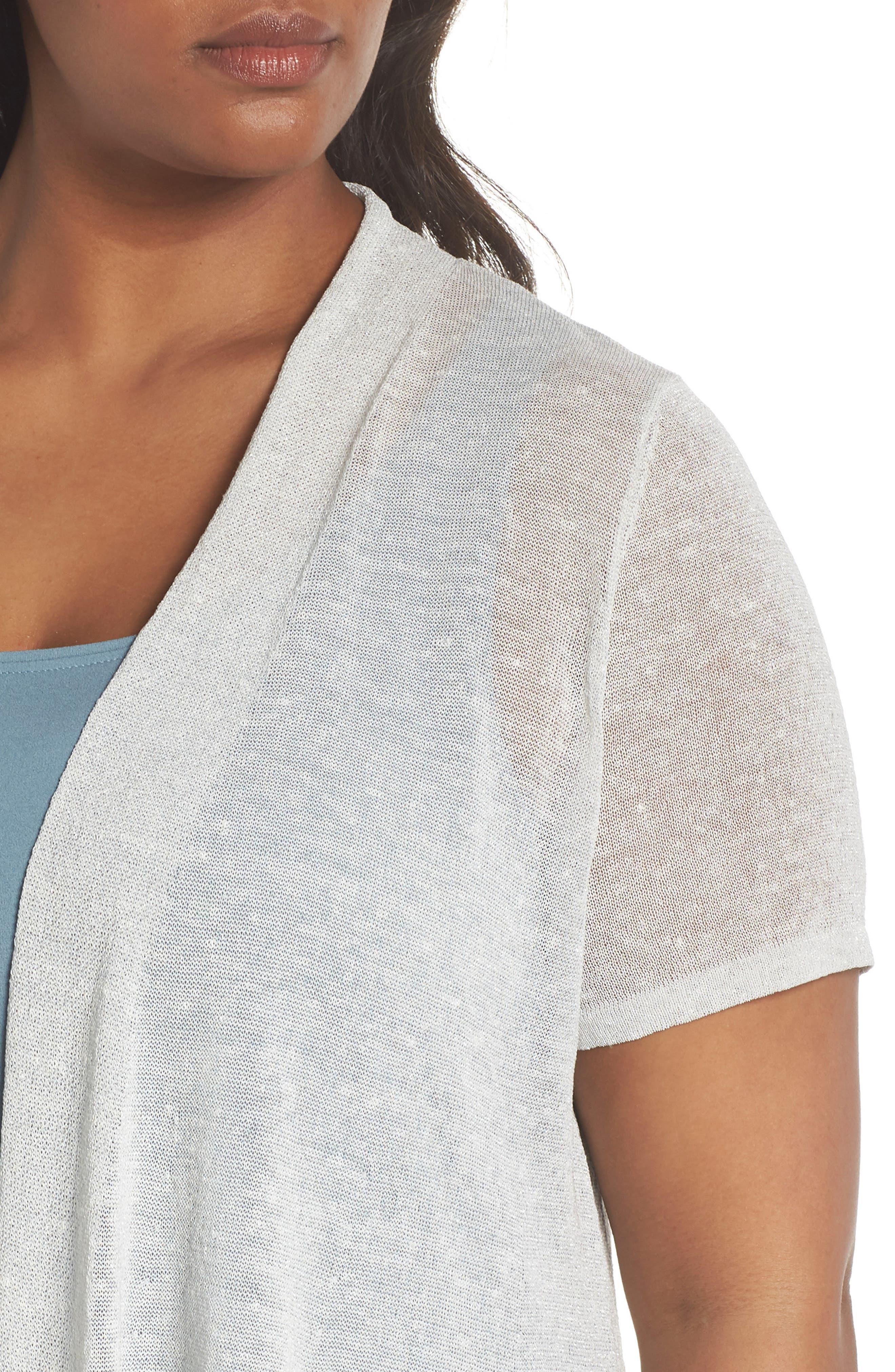 Long Organic Linen Blend Cardigan,                             Alternate thumbnail 4, color,                             Bone