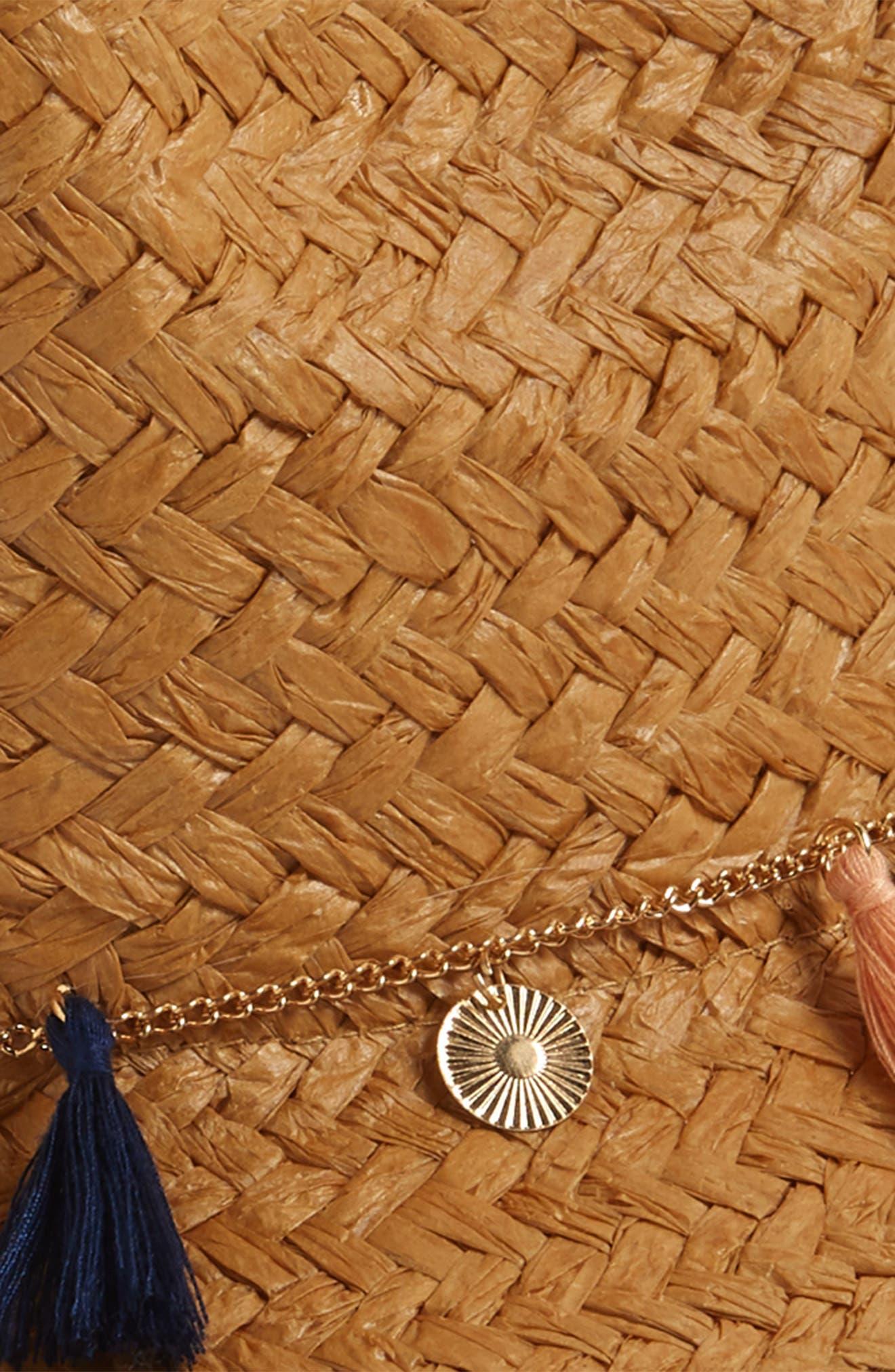 Tassel & Coin Detail Straw Fedora,                             Alternate thumbnail 2, color,                             Natural/ Multi