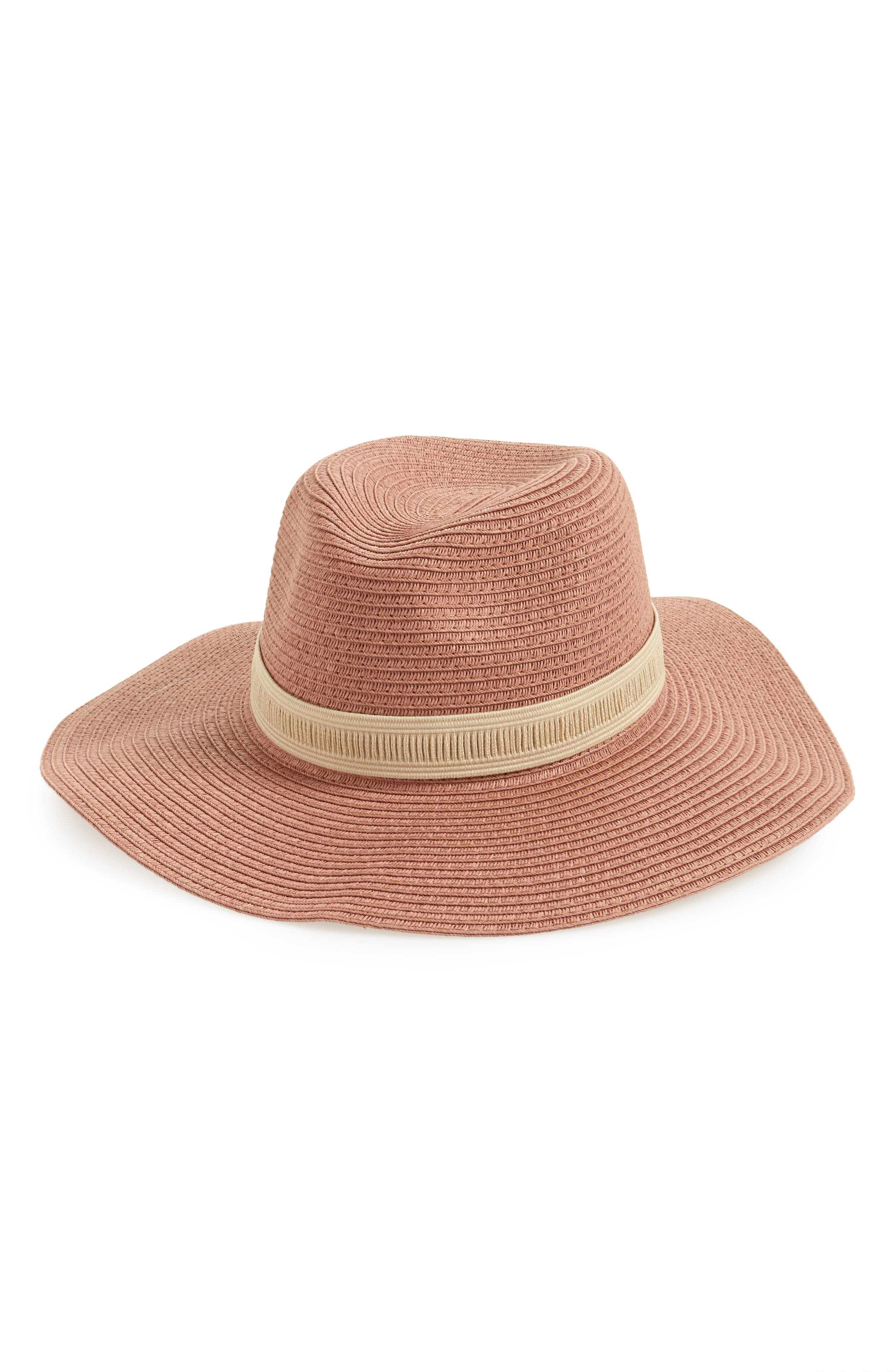 Mesa Packable Straw Hat,                             Main thumbnail 1, color,                             Dried Coral Straw