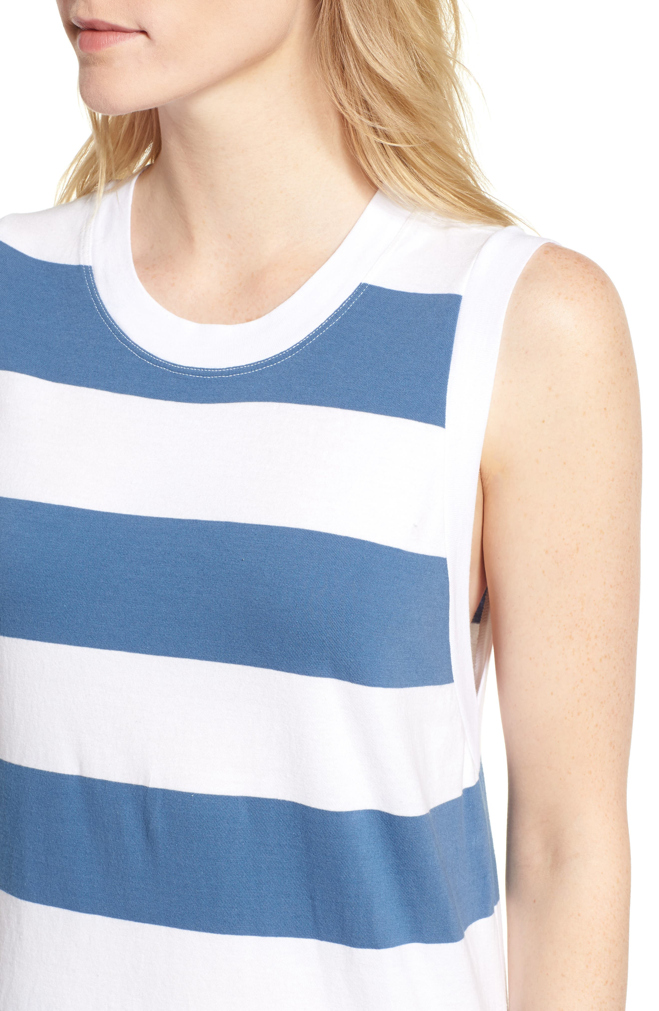 Rugby Stripe Maxi Dress,                             Alternate thumbnail 4, color,                             White/ Blue
