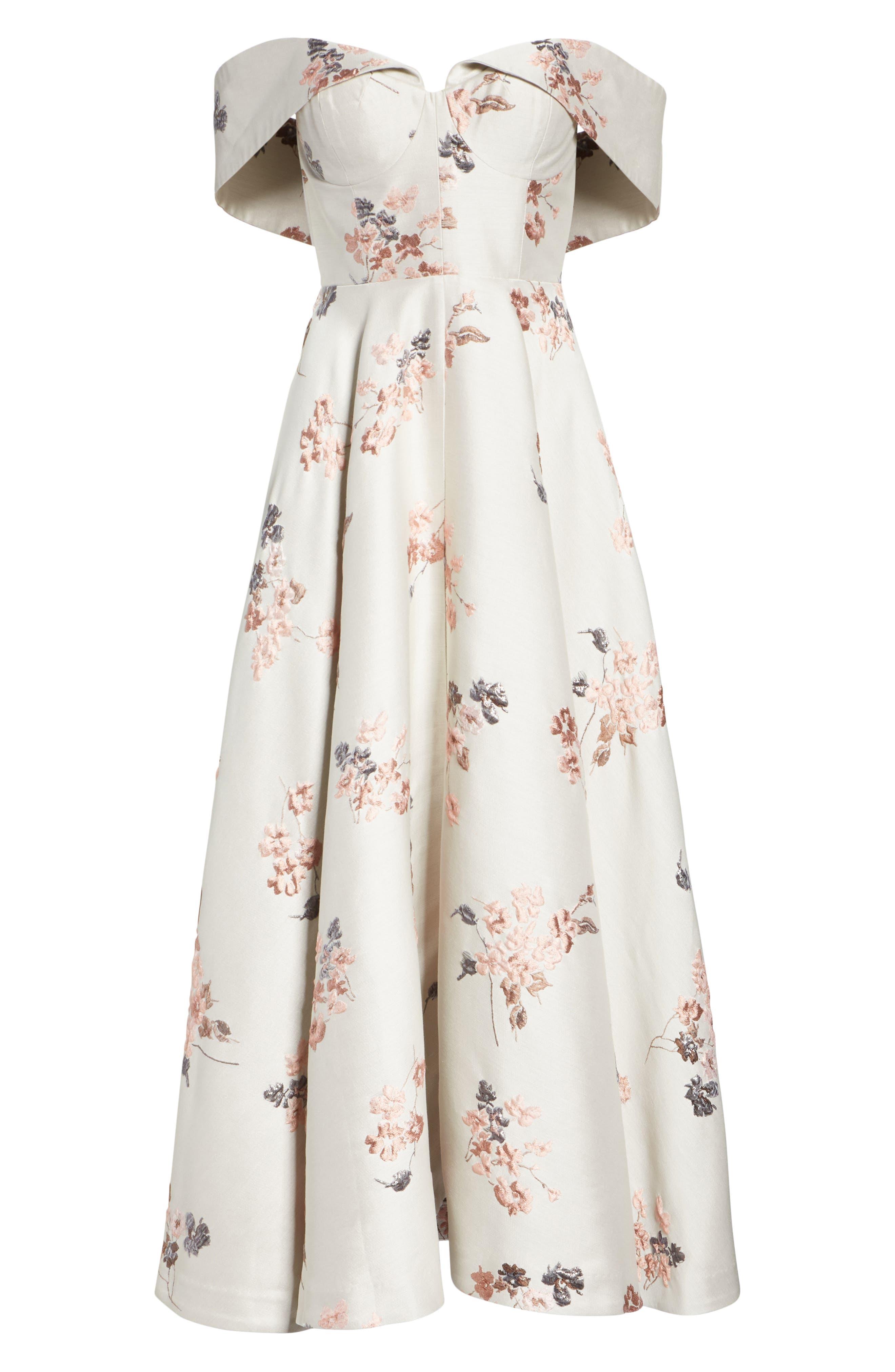 Metallic Floral Jacquard Off the Shoulder Dress,                             Alternate thumbnail 8, color,                             Beige/ Pink